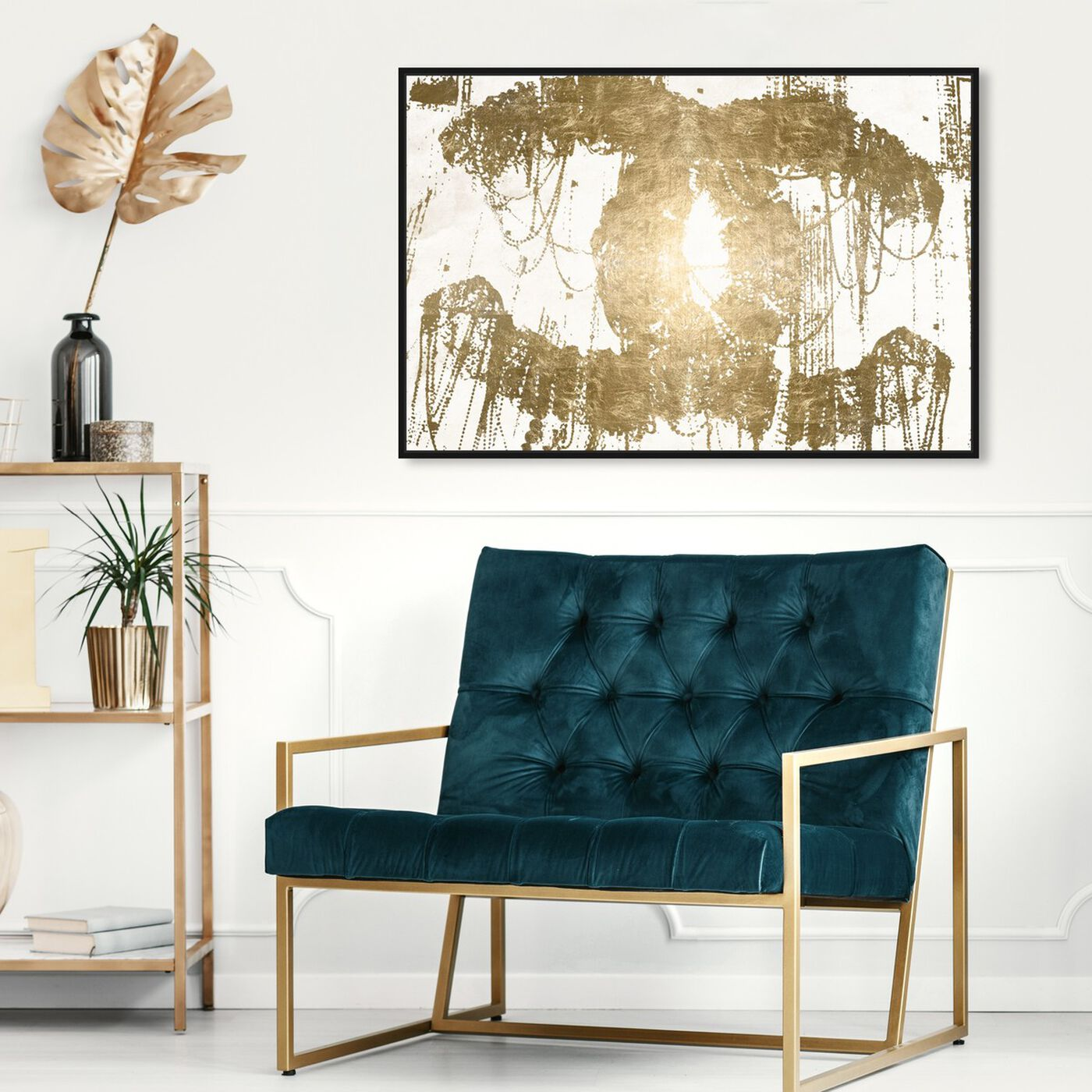 Hanging view of Hey Lolita Gold Canvas featuring fashion and glam and road signs art.
