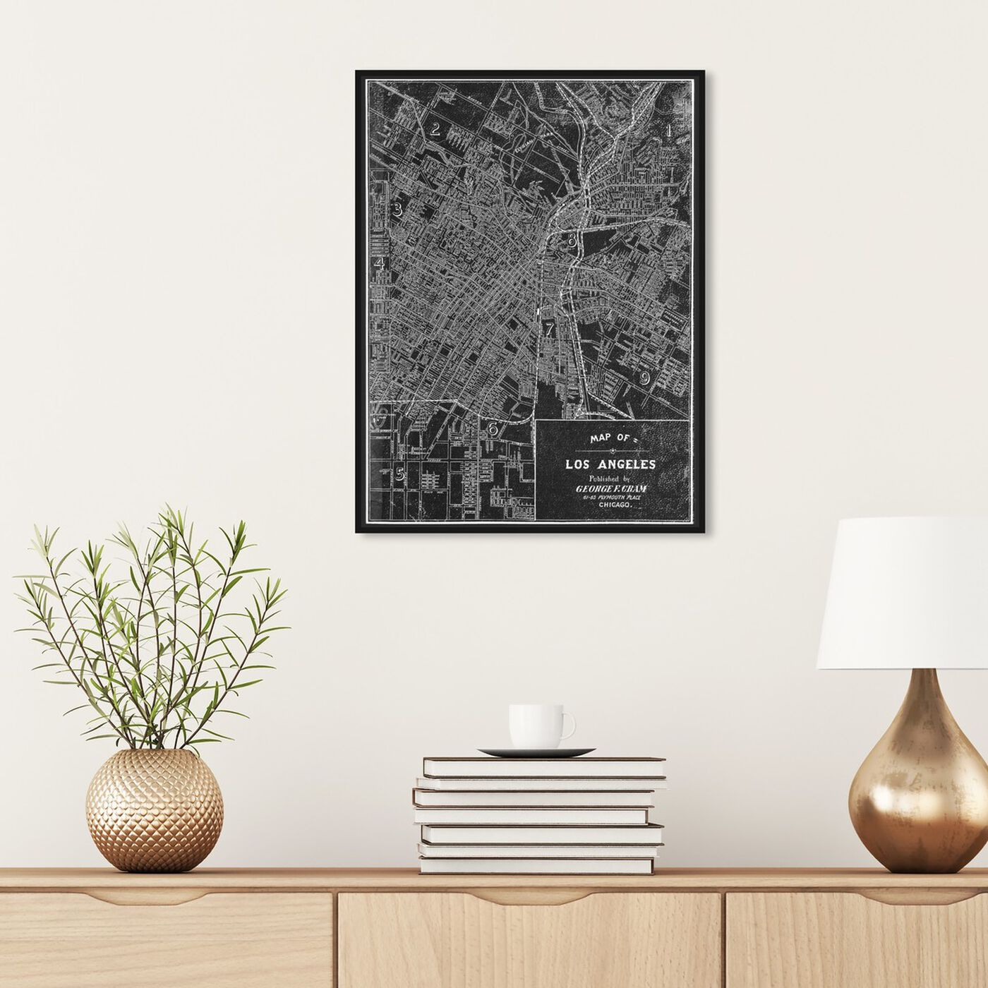 Hanging view of Los Angeles Map 1899 Grey featuring maps and flags and us cities maps art.