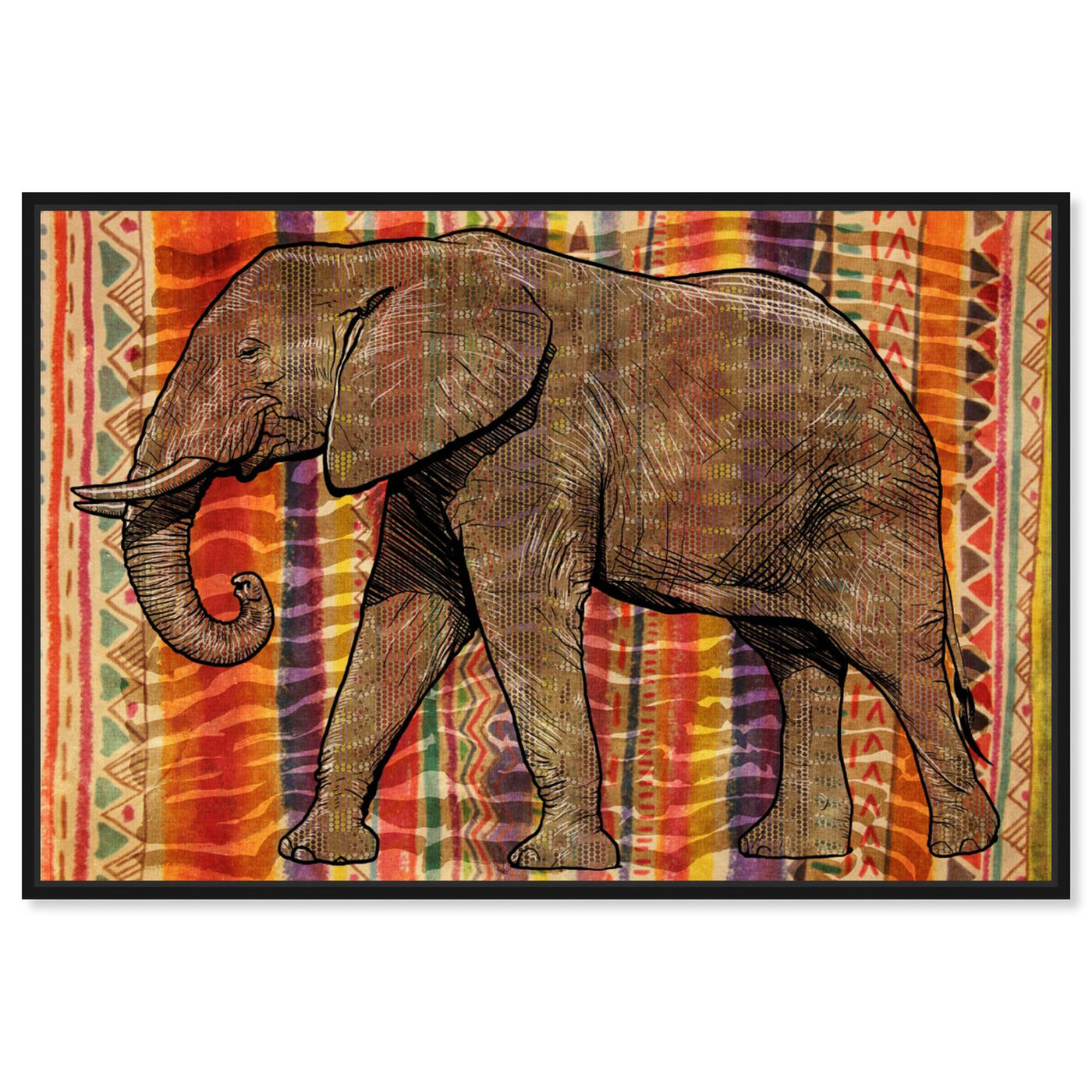 Front view of Tribal Elephant featuring animals and zoo and wild animals art.