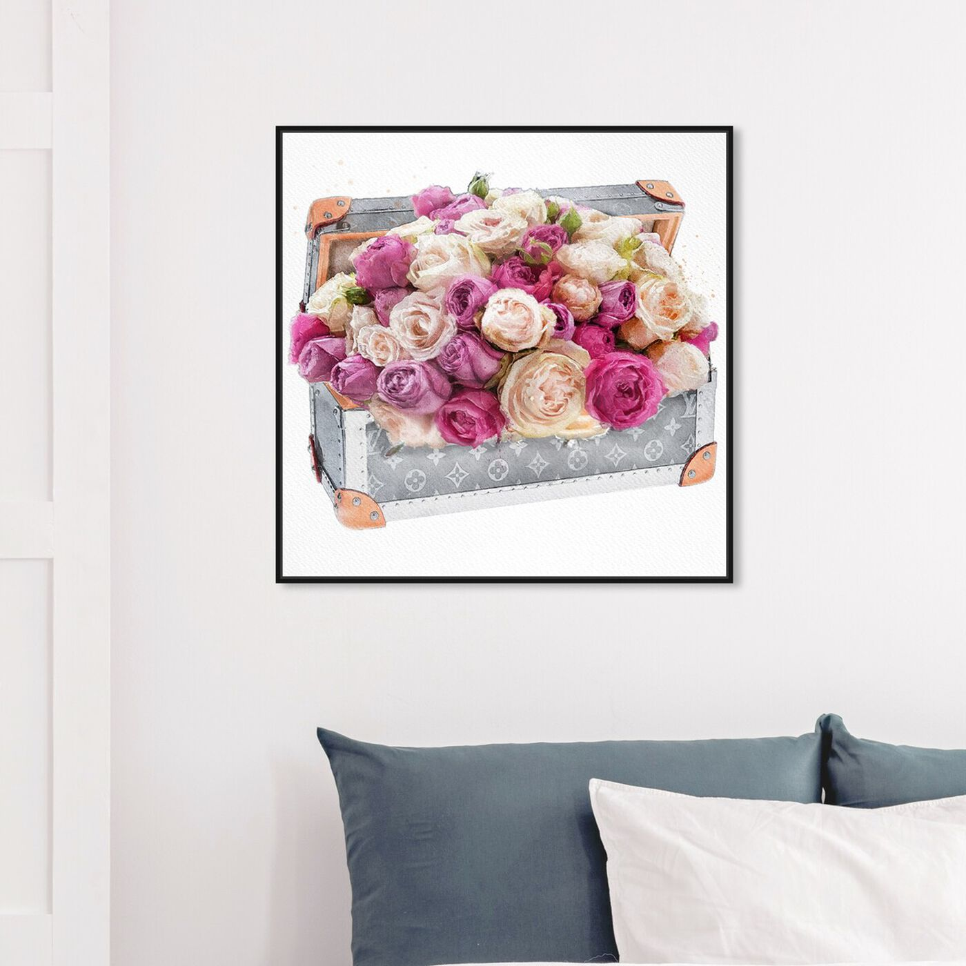 Hanging view of Rose Dreaming Trunk featuring floral and botanical and florals art.