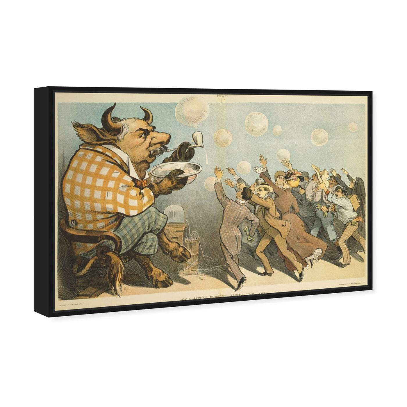 Angled view of Wall Street Bubbles featuring classic and figurative and modern classic art.