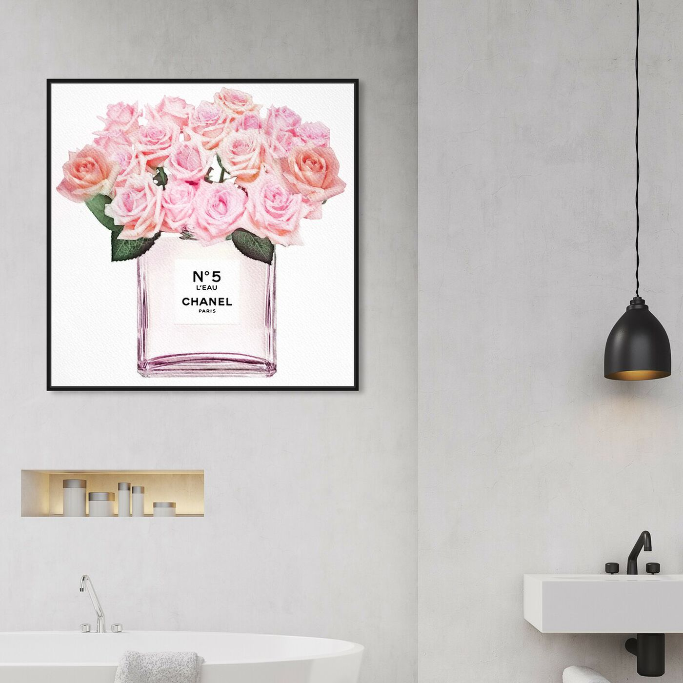 Hanging view of Eau de Rose featuring fashion and glam and perfumes art.