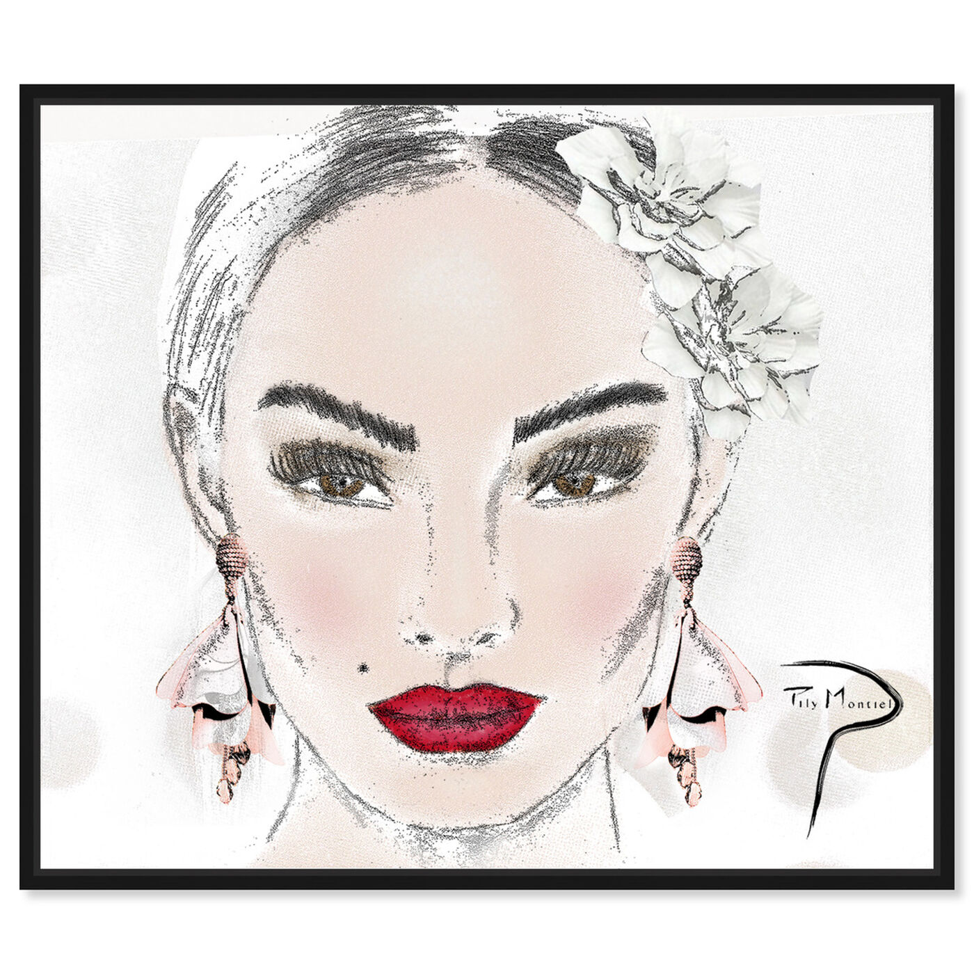 Front view of Pily Montiel - sexy face sketch featuring fashion and glam and portraits art.