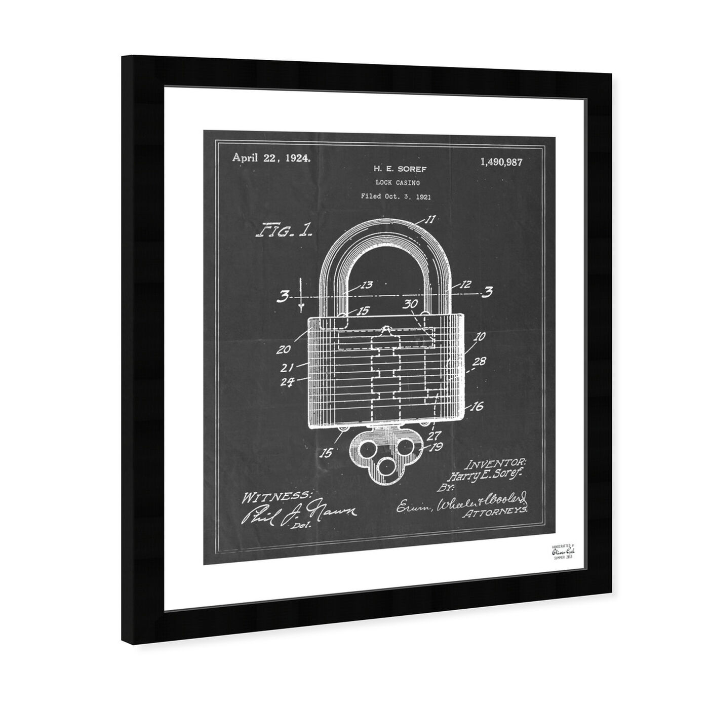 Angled view of Lock Casing 1921 featuring symbols and objects and shapes art.