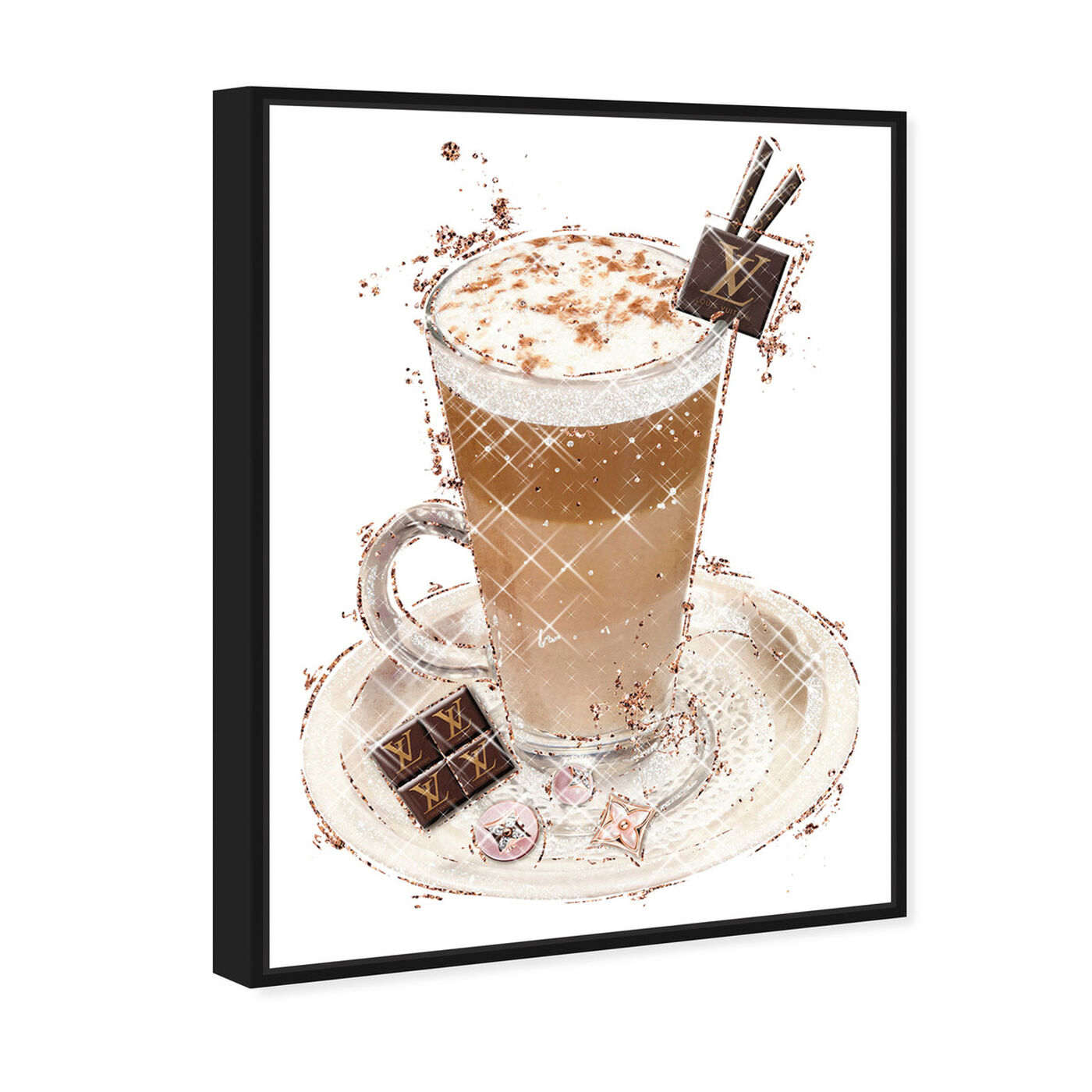 Angled view of Vanilla Cocoa Frappe featuring drinks and spirits and coffee art.