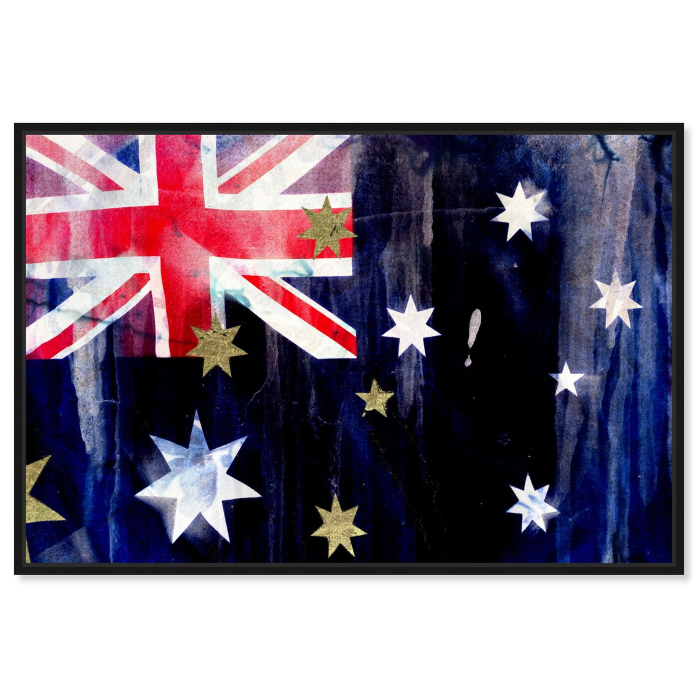 Front view of Australian Flag Interpreted by Oliver Gal featuring maps and flags and oceania countries flags art.