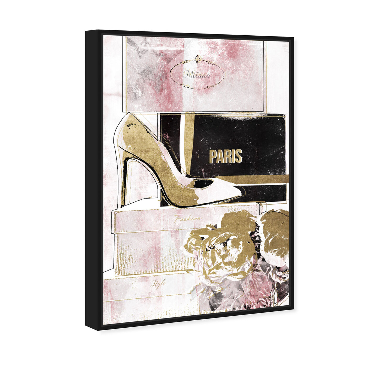 Angled view of Stacked Shoes Rose Love featuring fashion and glam and shoes art.