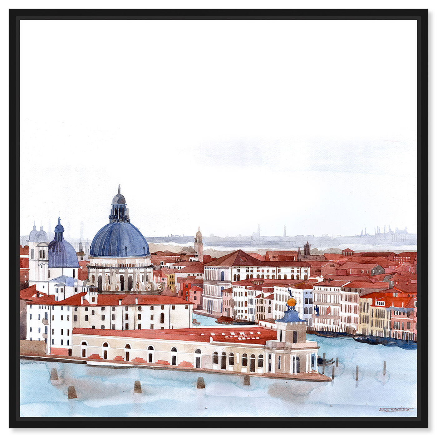 Front view of Maja Wronska - Waterfront Vista Clear II featuring nautical and coastal and coastal landscapes art.