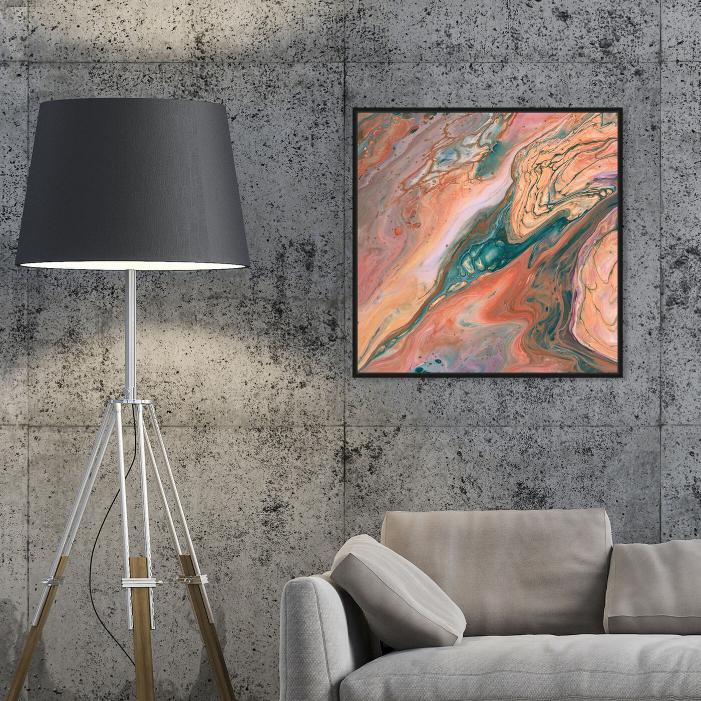 Hanging view of Orange Surreal featuring abstract and paint art.