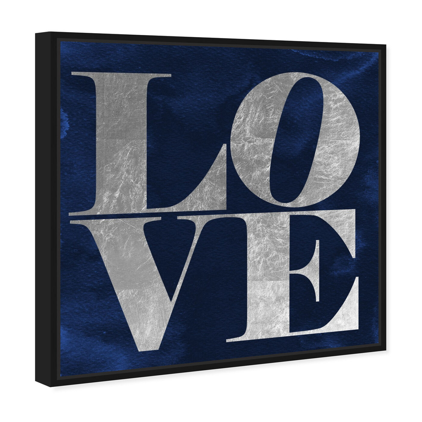 Angled view of Solid Gold Navy Silver featuring typography and quotes and love quotes and sayings art.