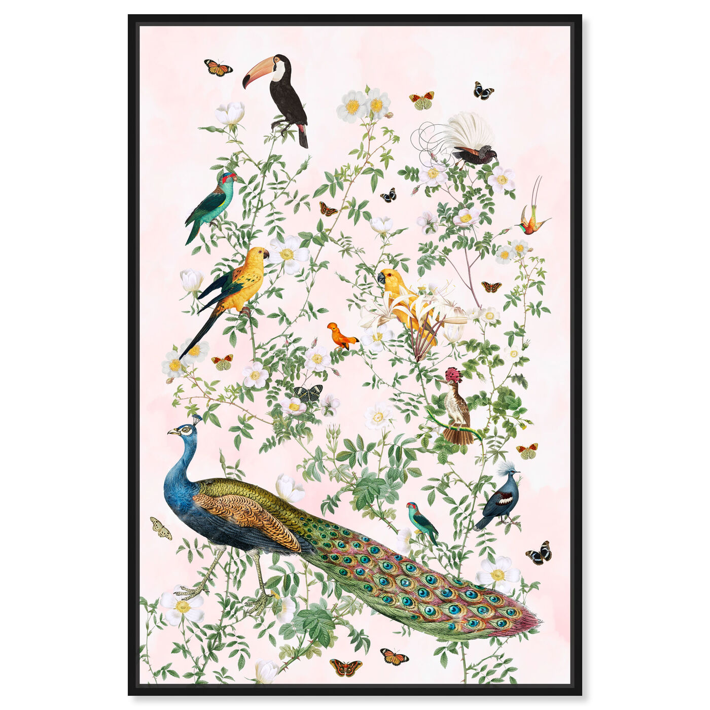 Front view of Maracas Chinoiserie featuring floral and botanical and florals art.