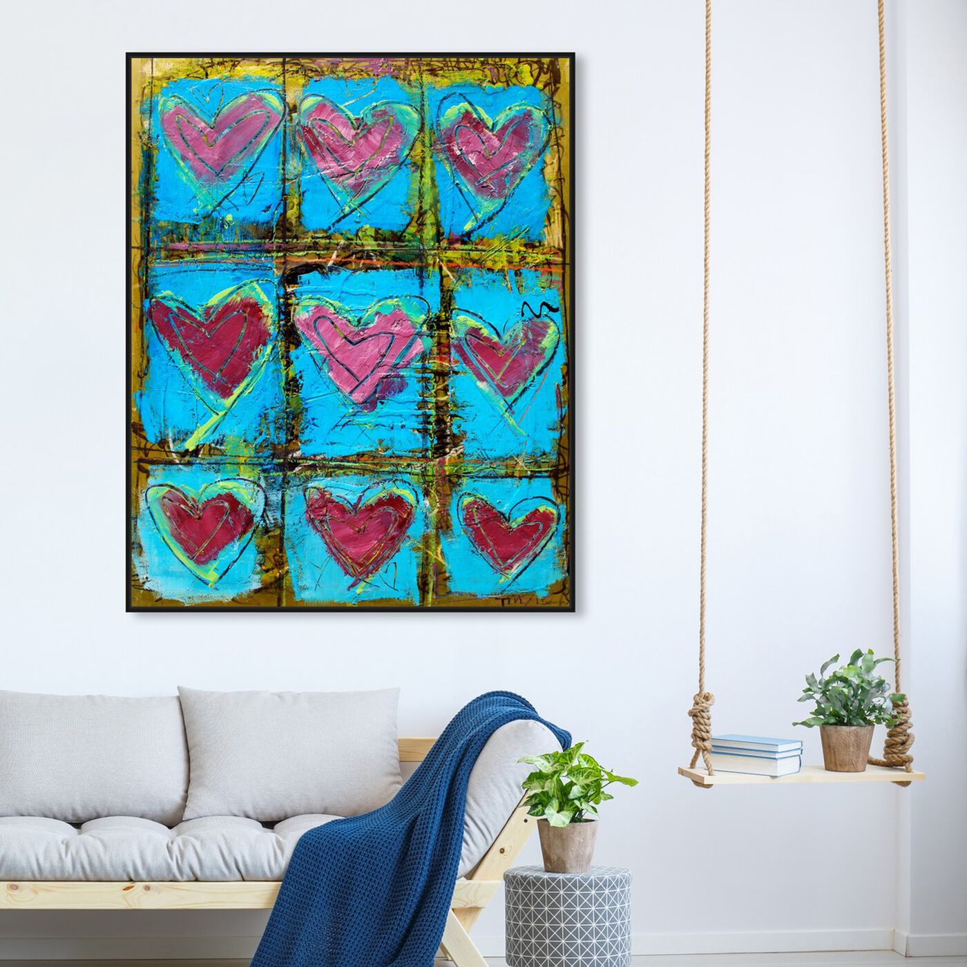 Hanging view of LoveTEAL by Tiago Magro featuring abstract and textures art.
