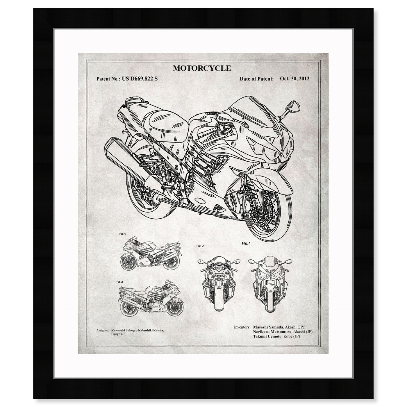 Front view of Motorcycle 2012 - Grey featuring transportation and motorcycles art.