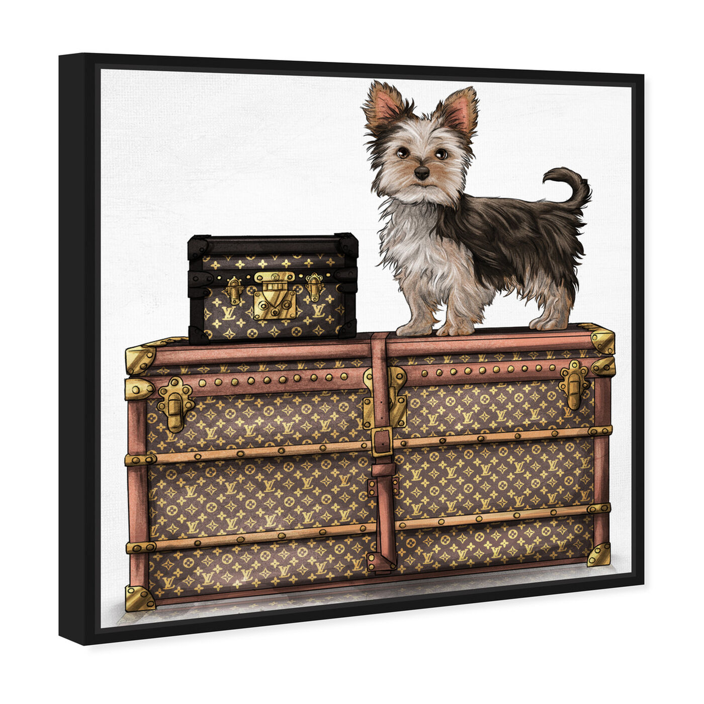 Angled view of Travelling Yorkie featuring fashion and glam and travel essentials art.