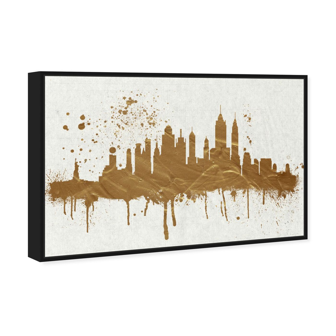 Angled view of Gold NY Skyline featuring cities and skylines and united states cities art.