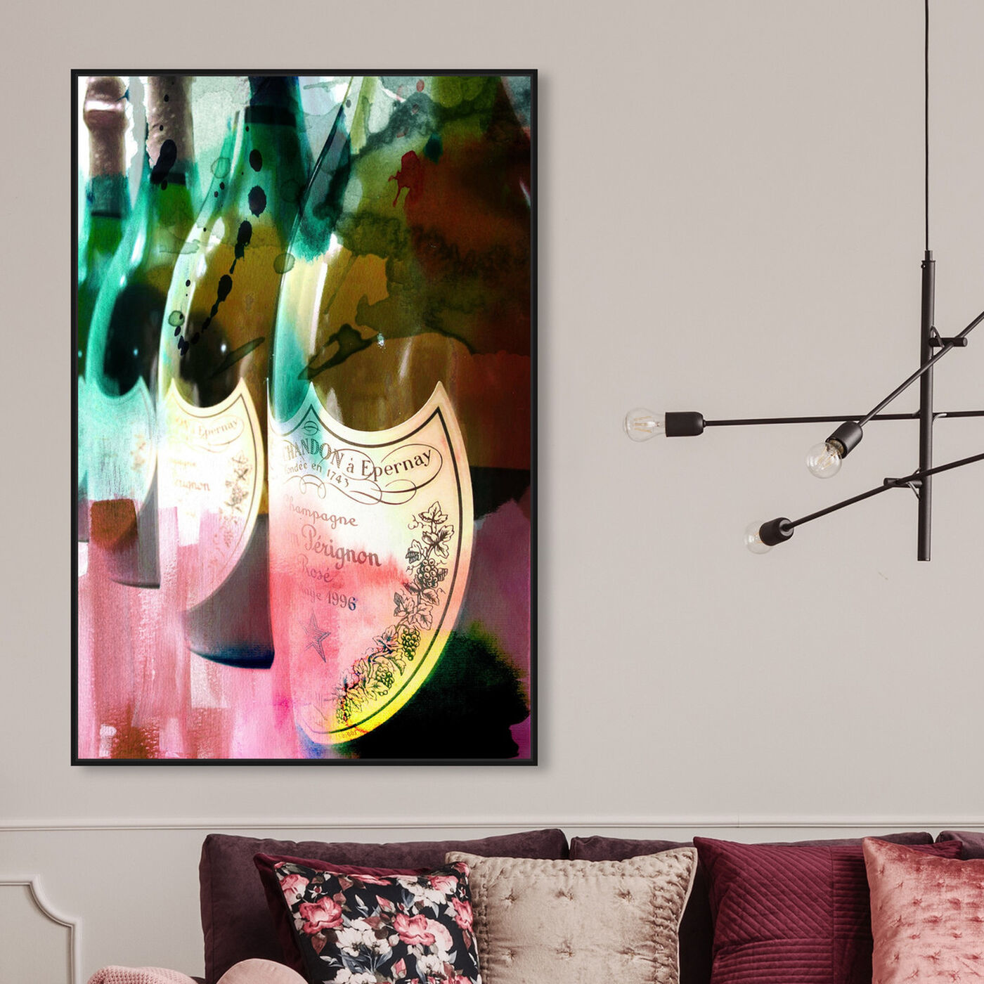 Hanging view of Champagne Feast II featuring drinks and spirits and champagne art.