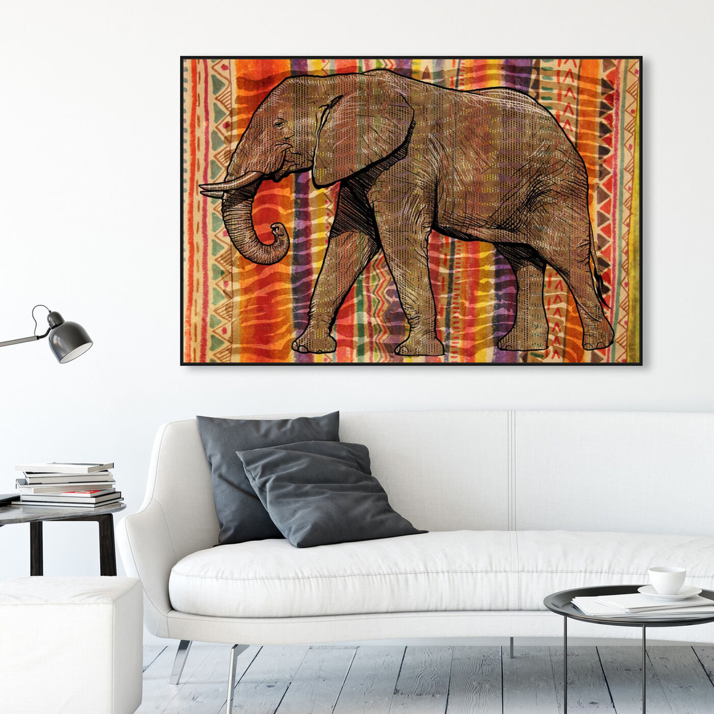 Hanging view of Tribal Elephant featuring animals and zoo and wild animals art.