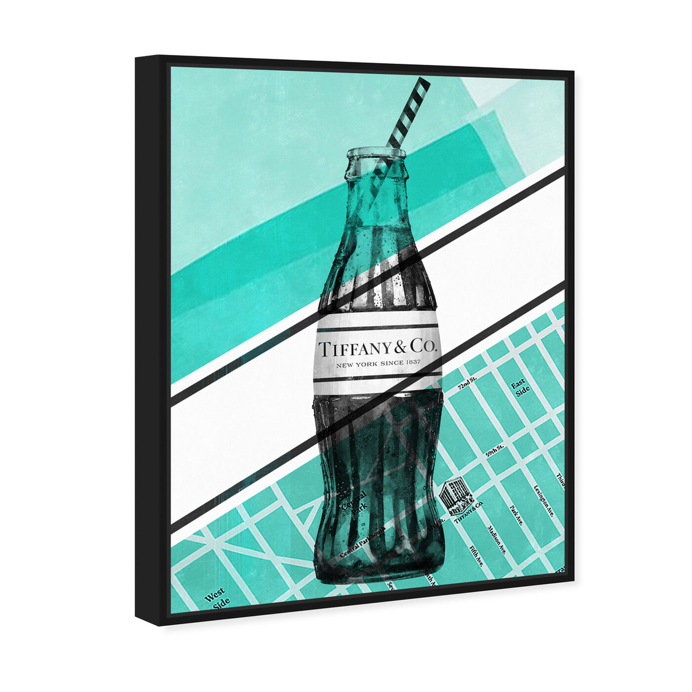 Angled view of NYC Soda Bottle featuring drinks and spirits and soda art.