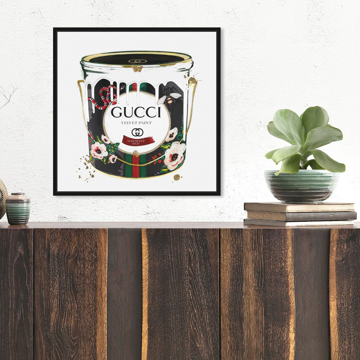 Hanging view of Velvet Marmont Paint Can featuring fashion and glam and cans art.
