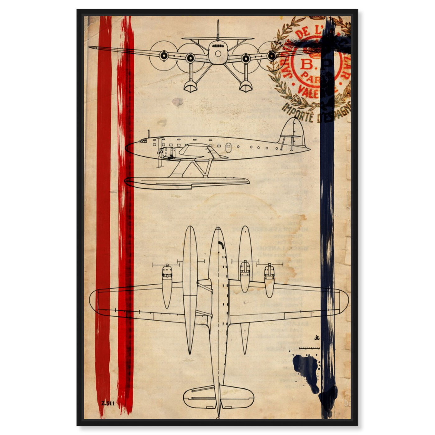 Front view of Air Espagne France 1944 featuring transportation and airplanes art.