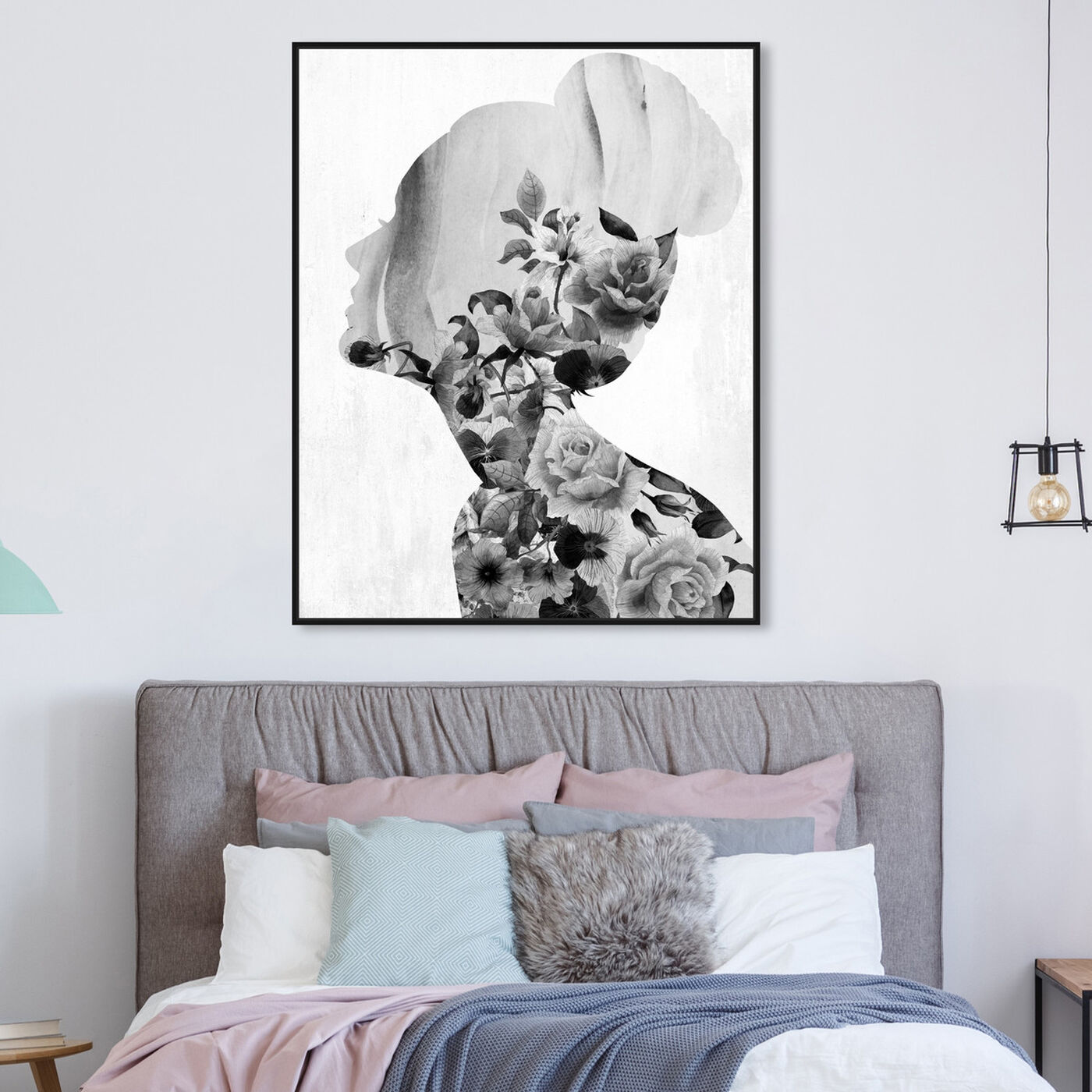 Hanging view of Flower Built White and Black featuring floral and botanical and florals art.