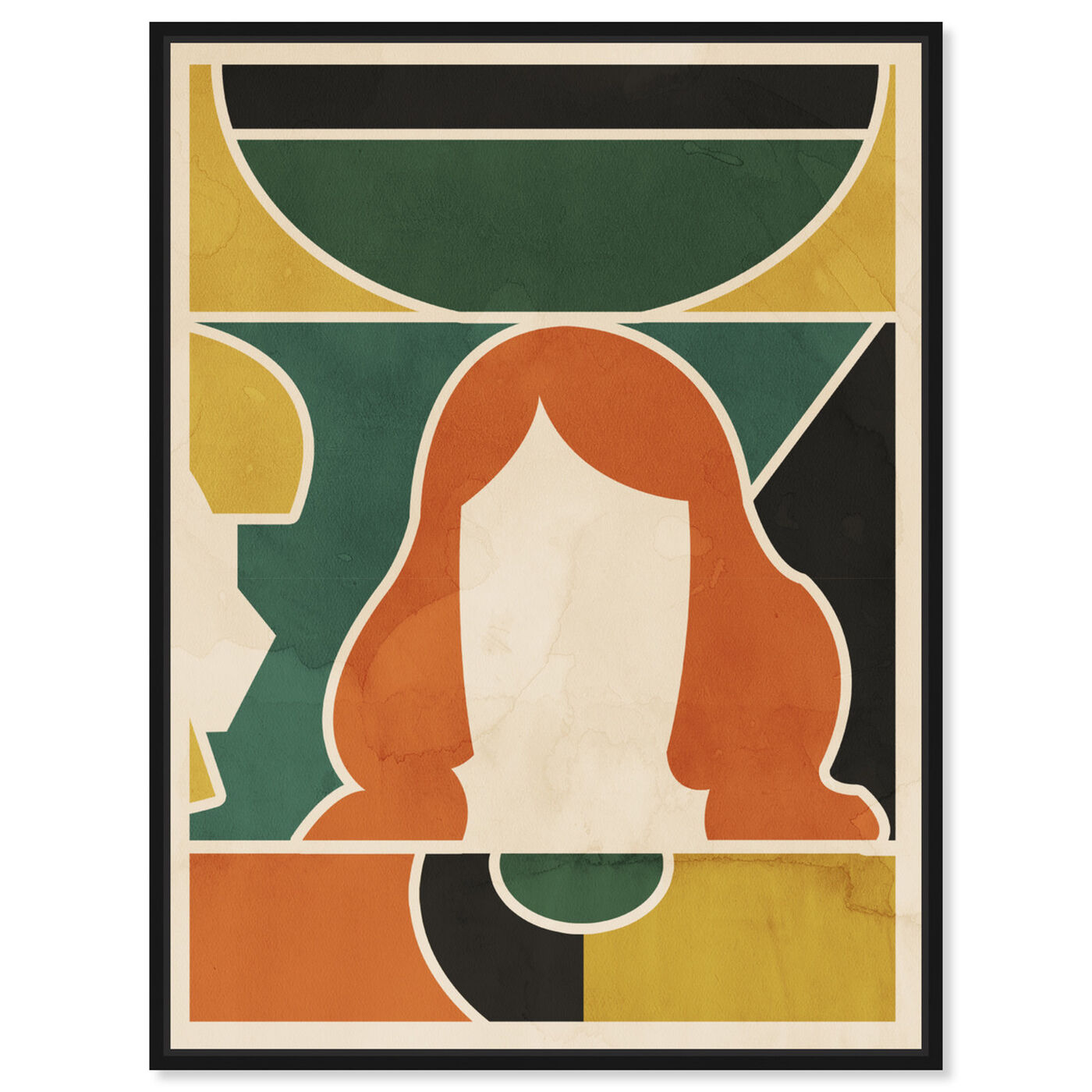 Front view of Girl at the Window featuring abstract and geometric art.