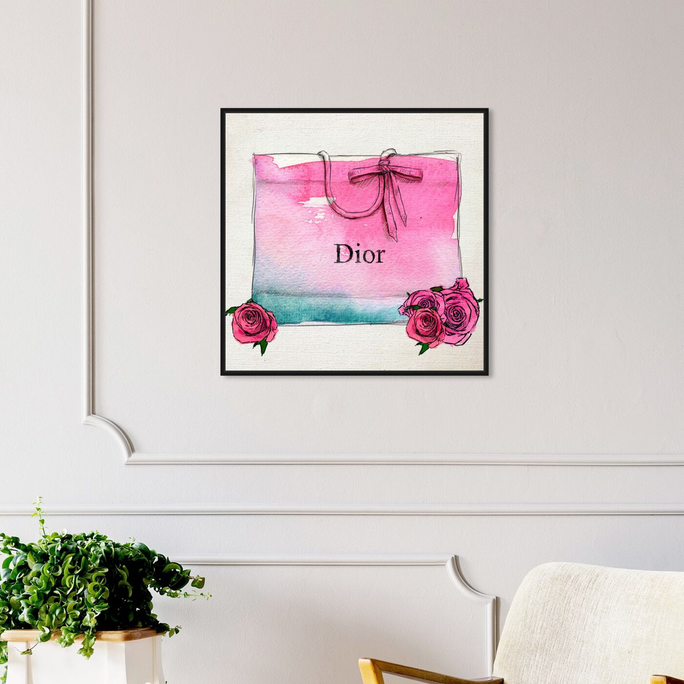 Hanging view of Hazy Eyed I featuring fashion and glam and lifestyle art.