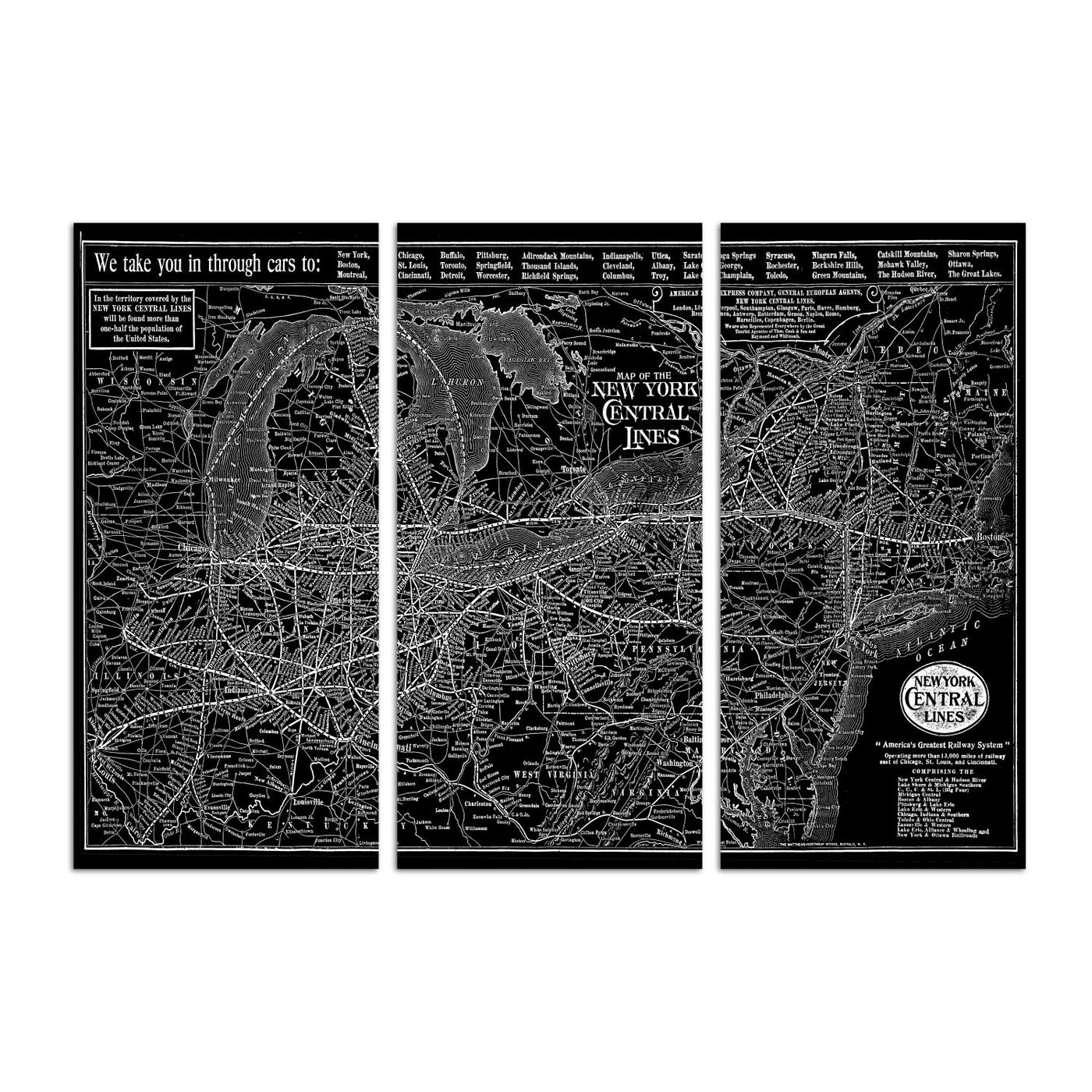 New York Central Lines Map 1918 Triptych