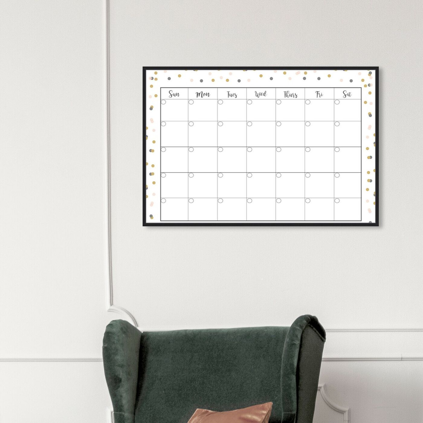 Hanging view of Confetti Calender featuring education and office and educational charts art.