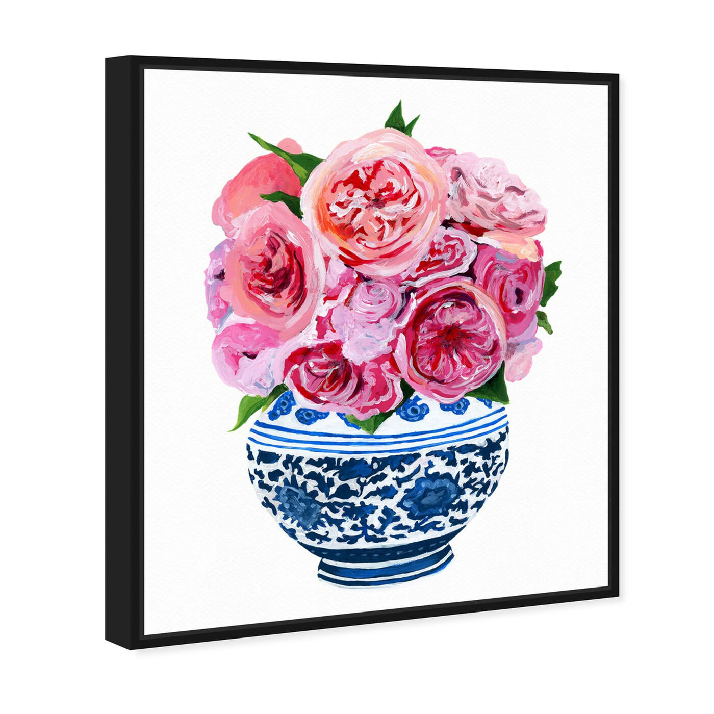 Angled view of Peonie Vase I featuring floral and botanical and florals art.
