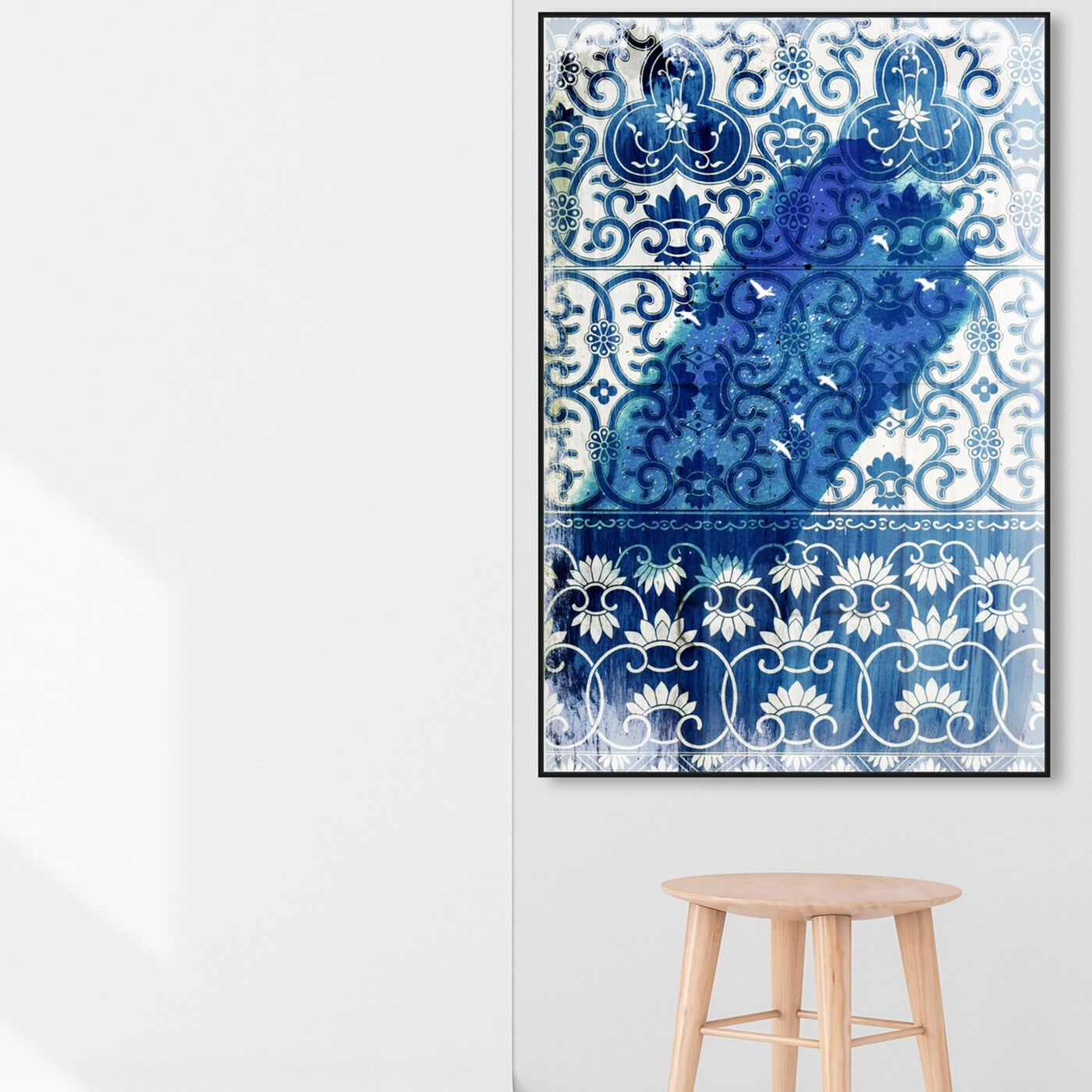 Hanging view of Birds Bleau featuring abstract and patterns art.
