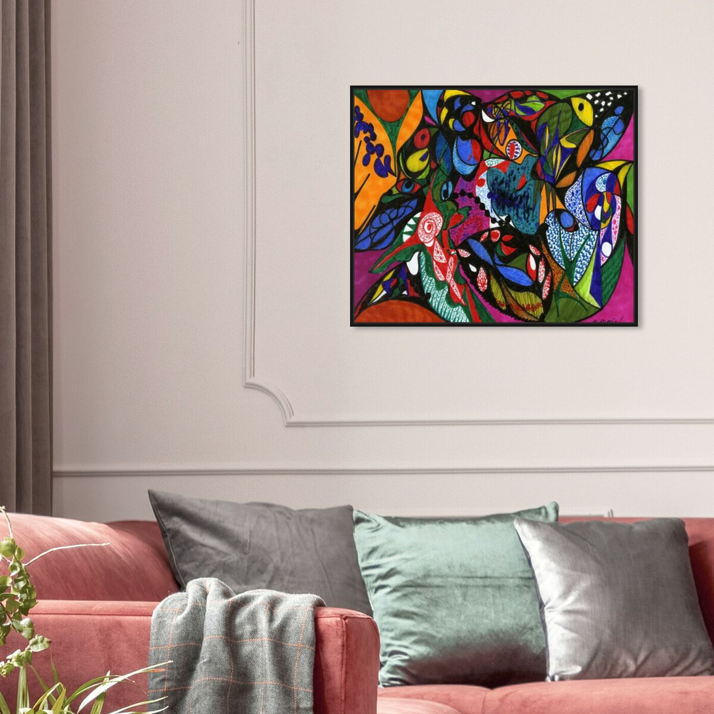 Hanging view of Harmonious featuring abstract and shapes art.