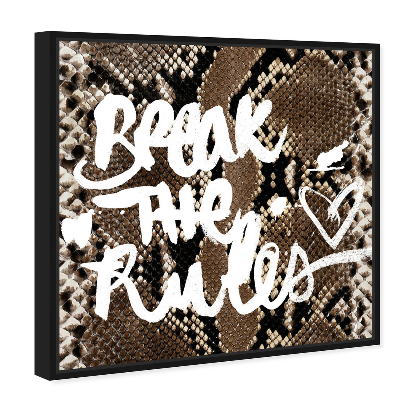 Angled view of Break the Rules  featuring typography and quotes and motivational quotes and sayings art.