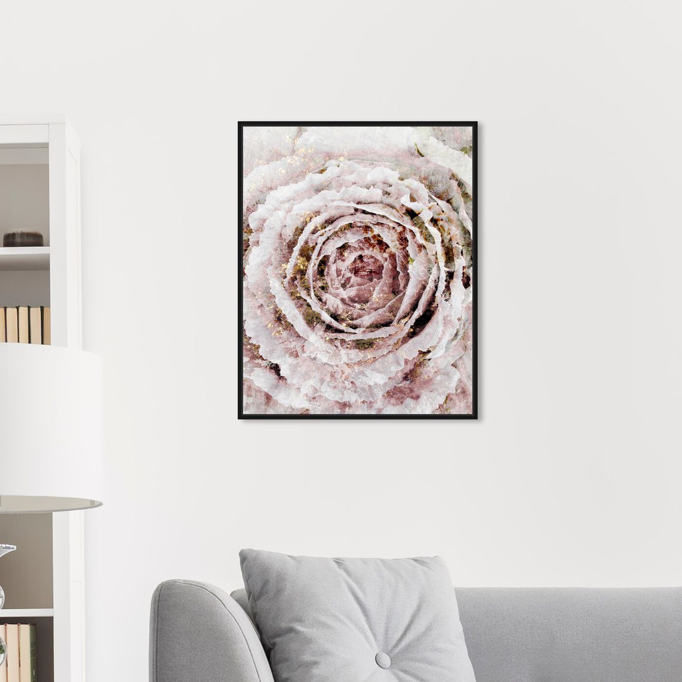 Hanging view of Blush Winter Flower Narrow featuring floral and botanical and florals art.