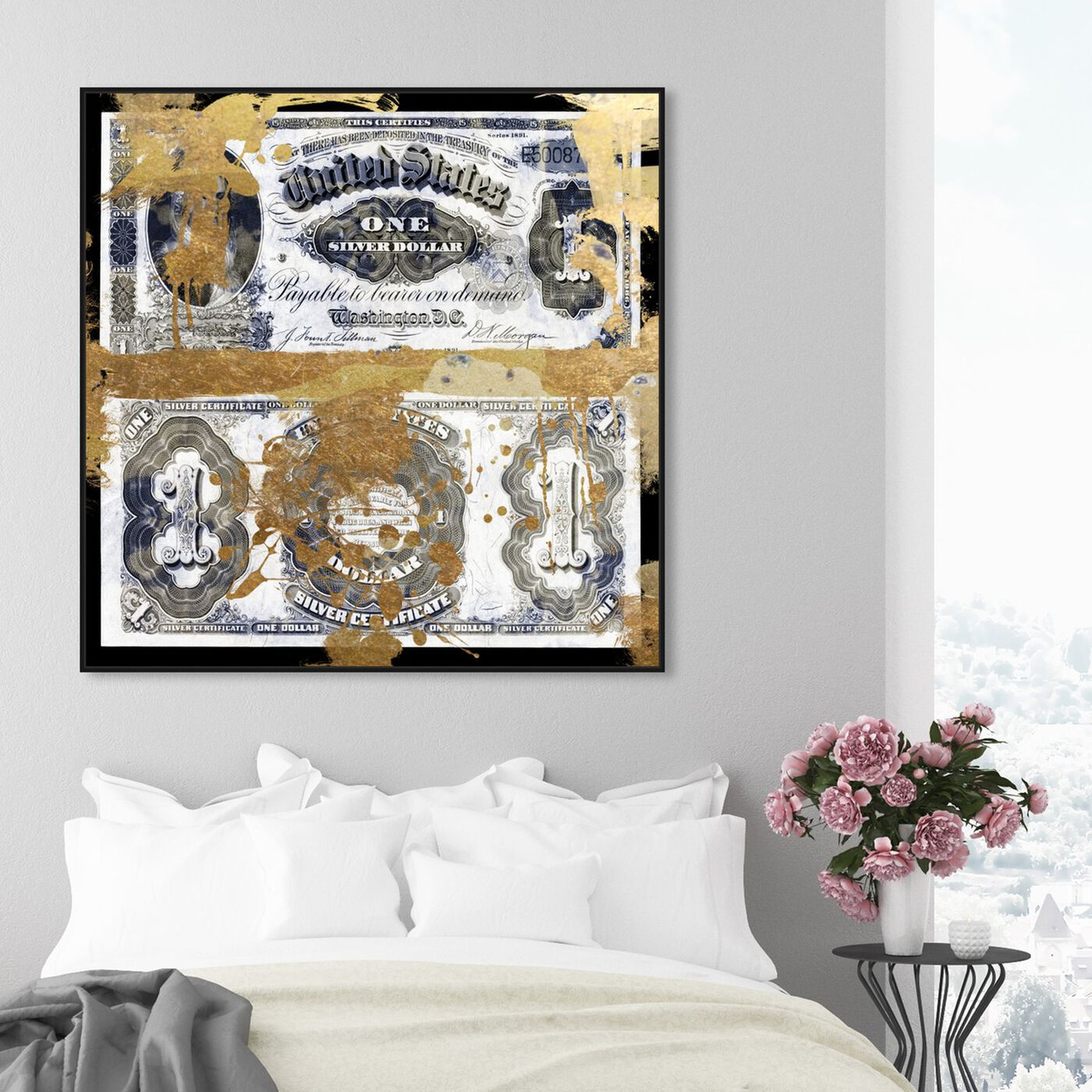 Hanging view of Silver Dollar featuring success and entrepreneurial and money art.
