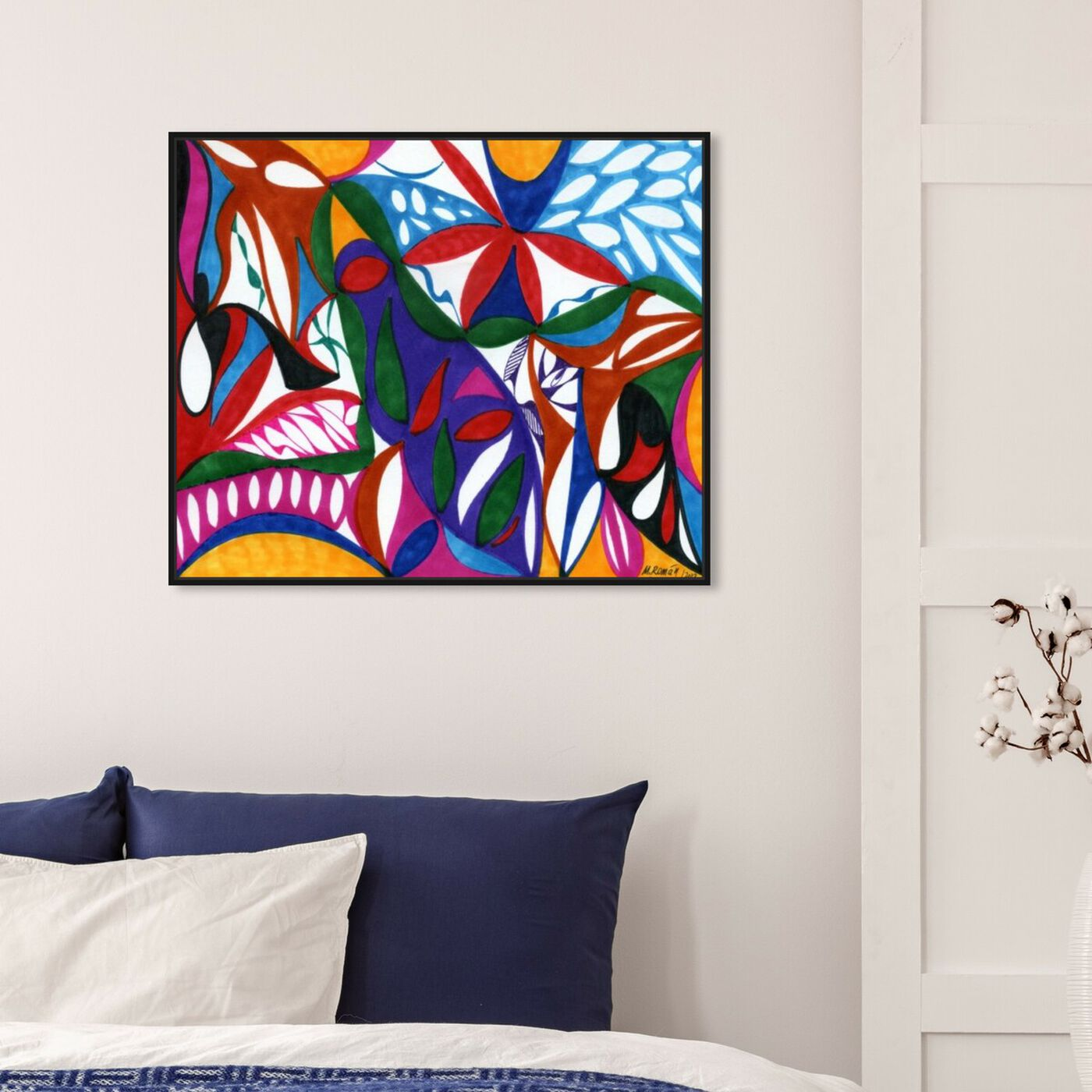 Hanging view of Rhapsodic featuring abstract and geometric art.