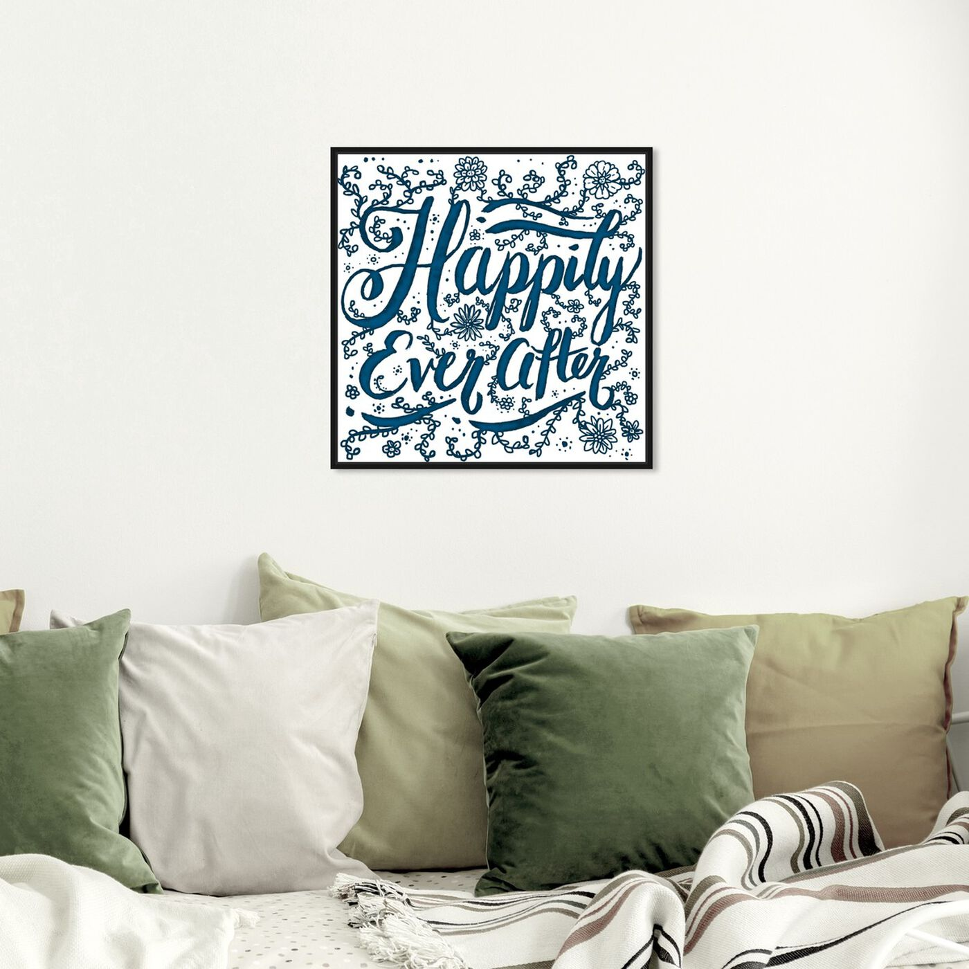 Hanging view of Happily Ever After featuring typography and quotes and family quotes and sayings art.