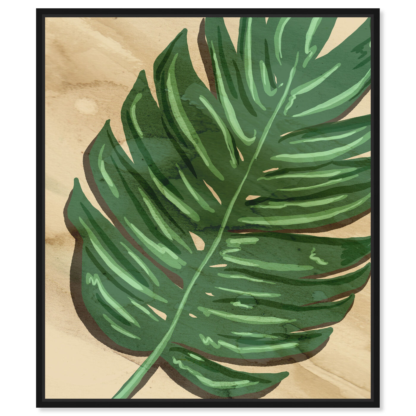 Front view of Neutral Leaves II featuring floral and botanical and botanicals art.