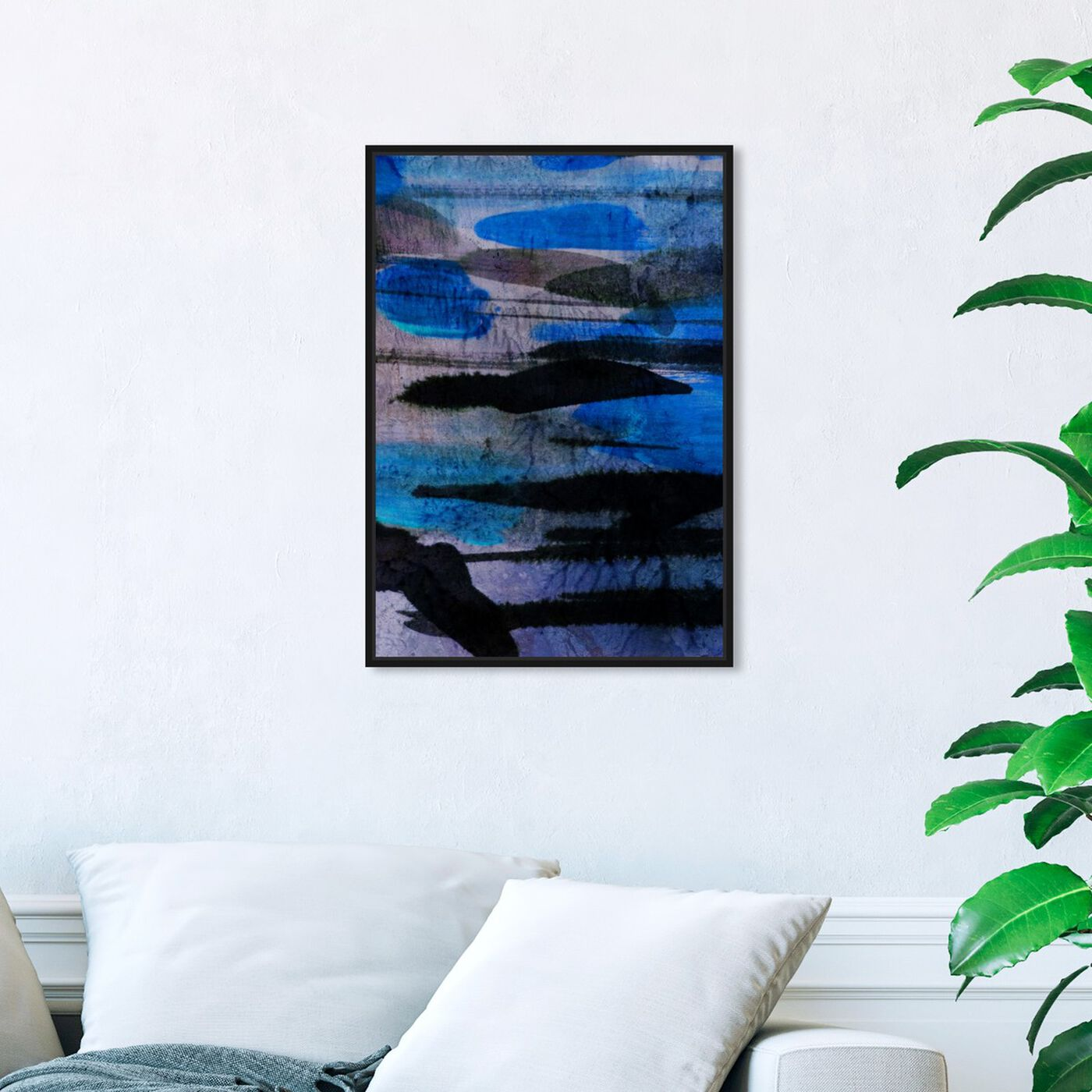 Hanging view of Andes Blues featuring abstract and paint art.