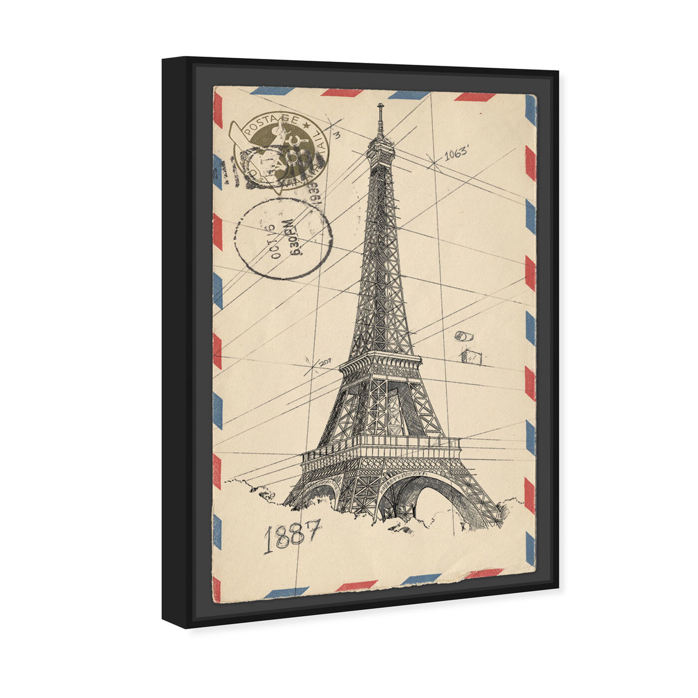 Angled view of Eiffel Post featuring cities and skylines and european cities art.