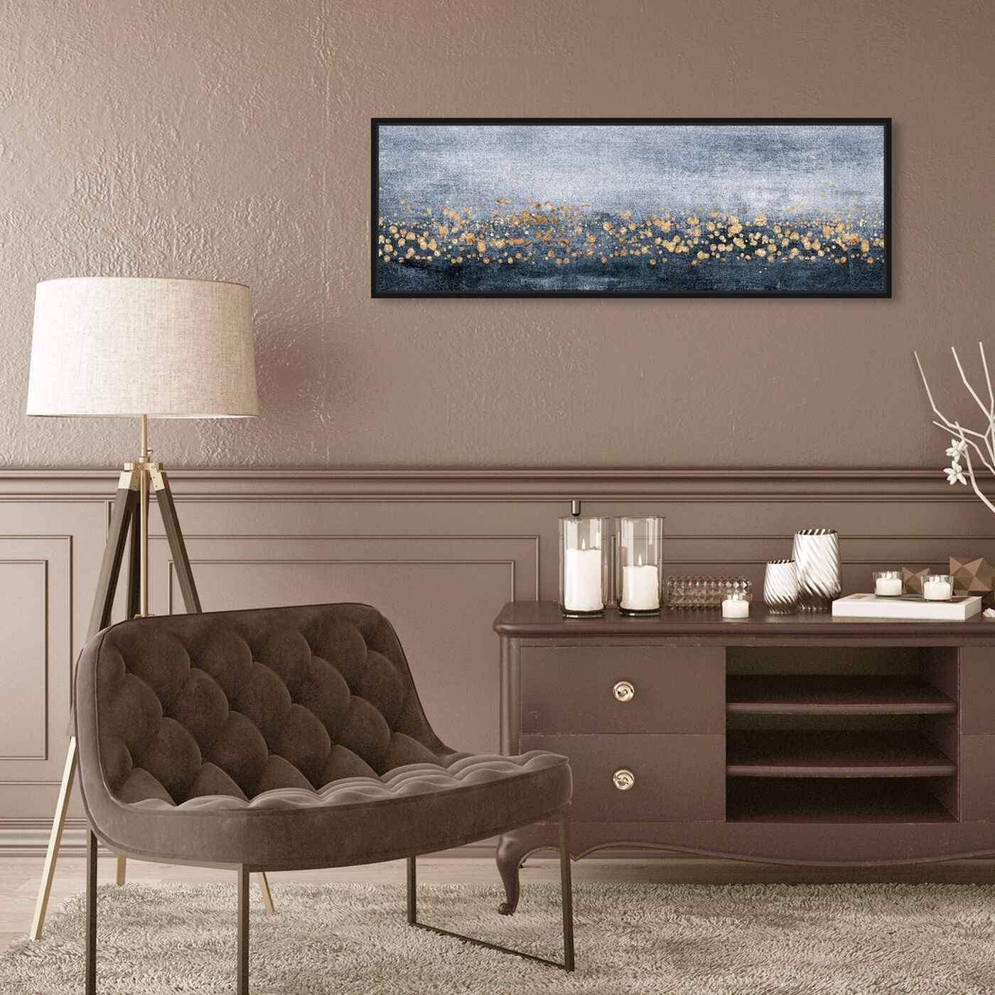 Hanging view of Down the River Horizontal featuring abstract and paint art.