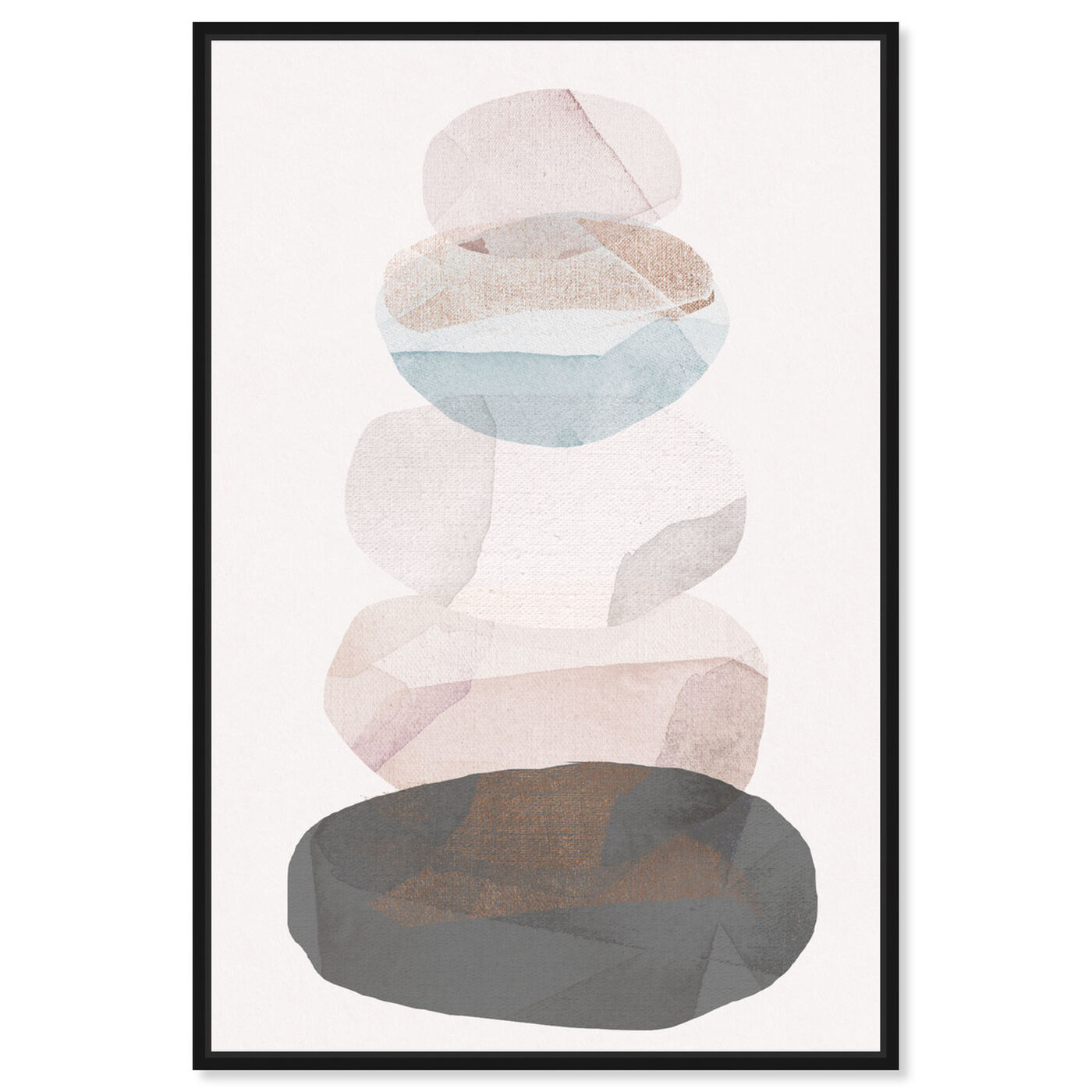 Front view of Pebble Stack featuring abstract and geometric art.