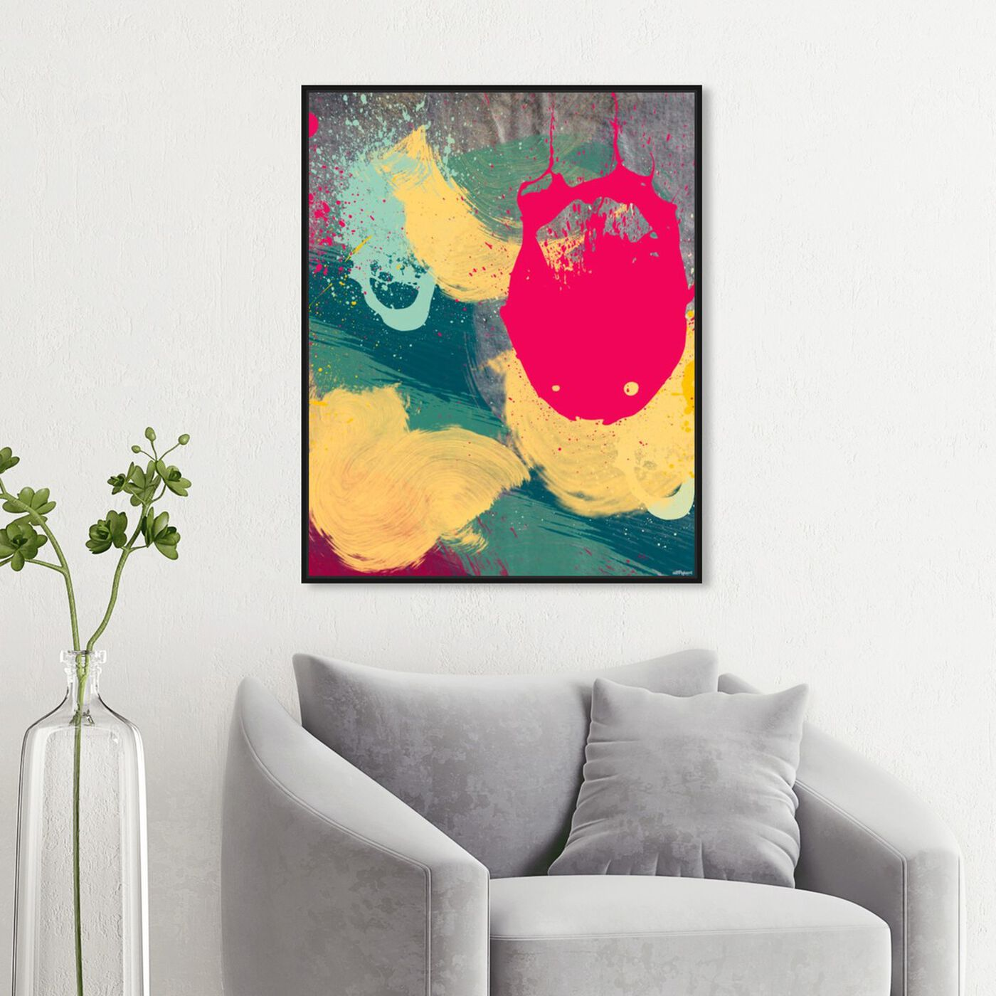 Hanging view of Strawberry Dreams featuring abstract and paint art.