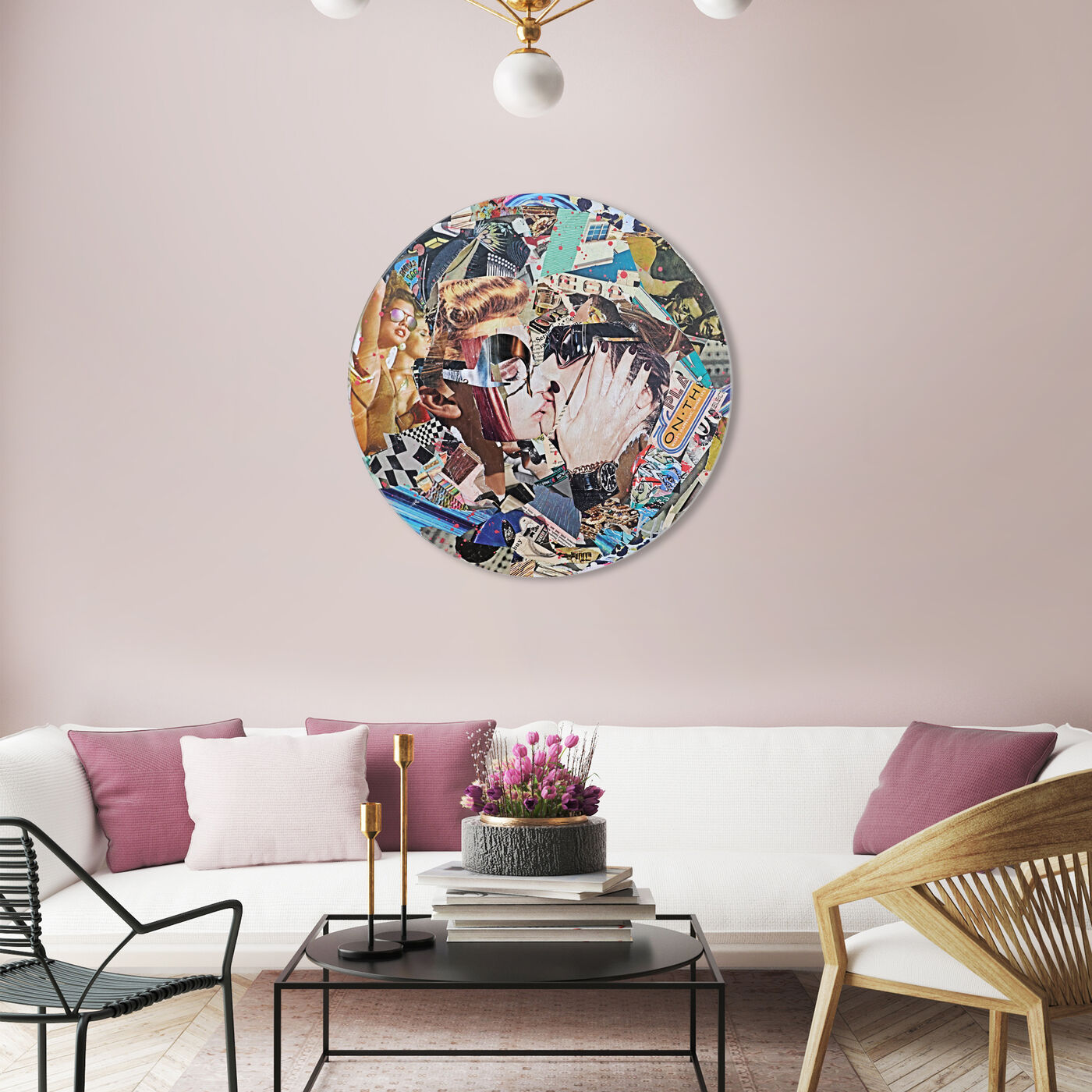 Hanging view of Katy Hirschfeld - Loving Embrace Round featuring fashion and glam and fashion lifestyle art.