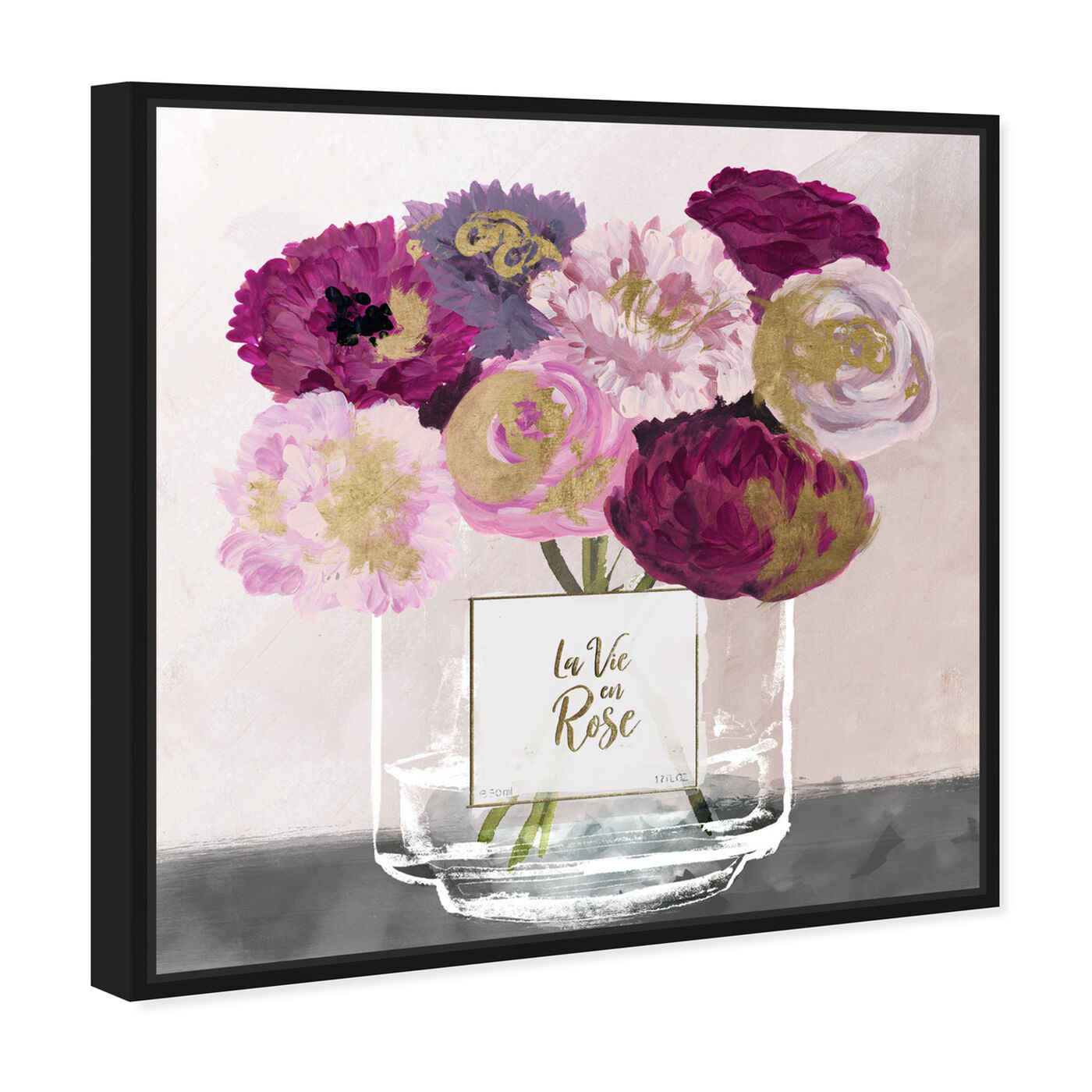 Angled view of La Vie En Rose featuring floral and botanical and florals art.