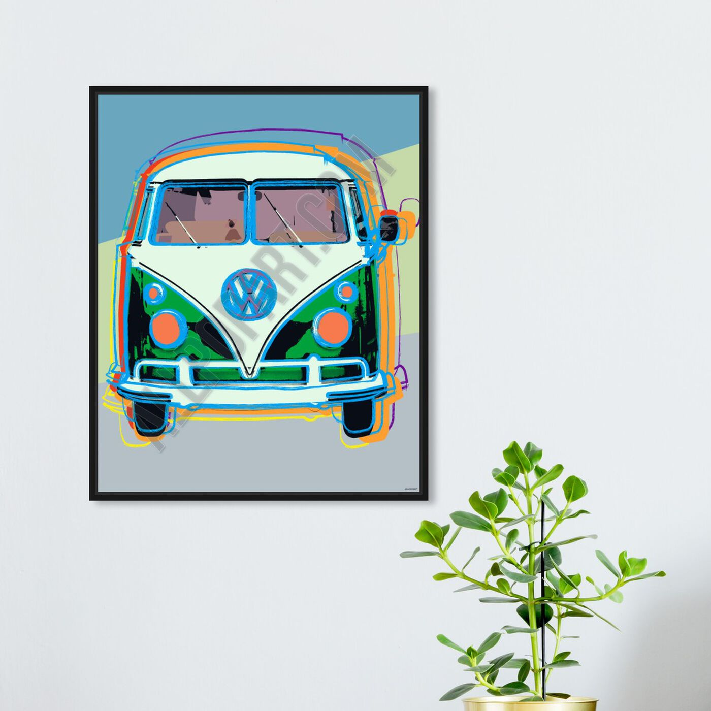 Hanging view of Pastel Van featuring transportation and trucks and busses art.