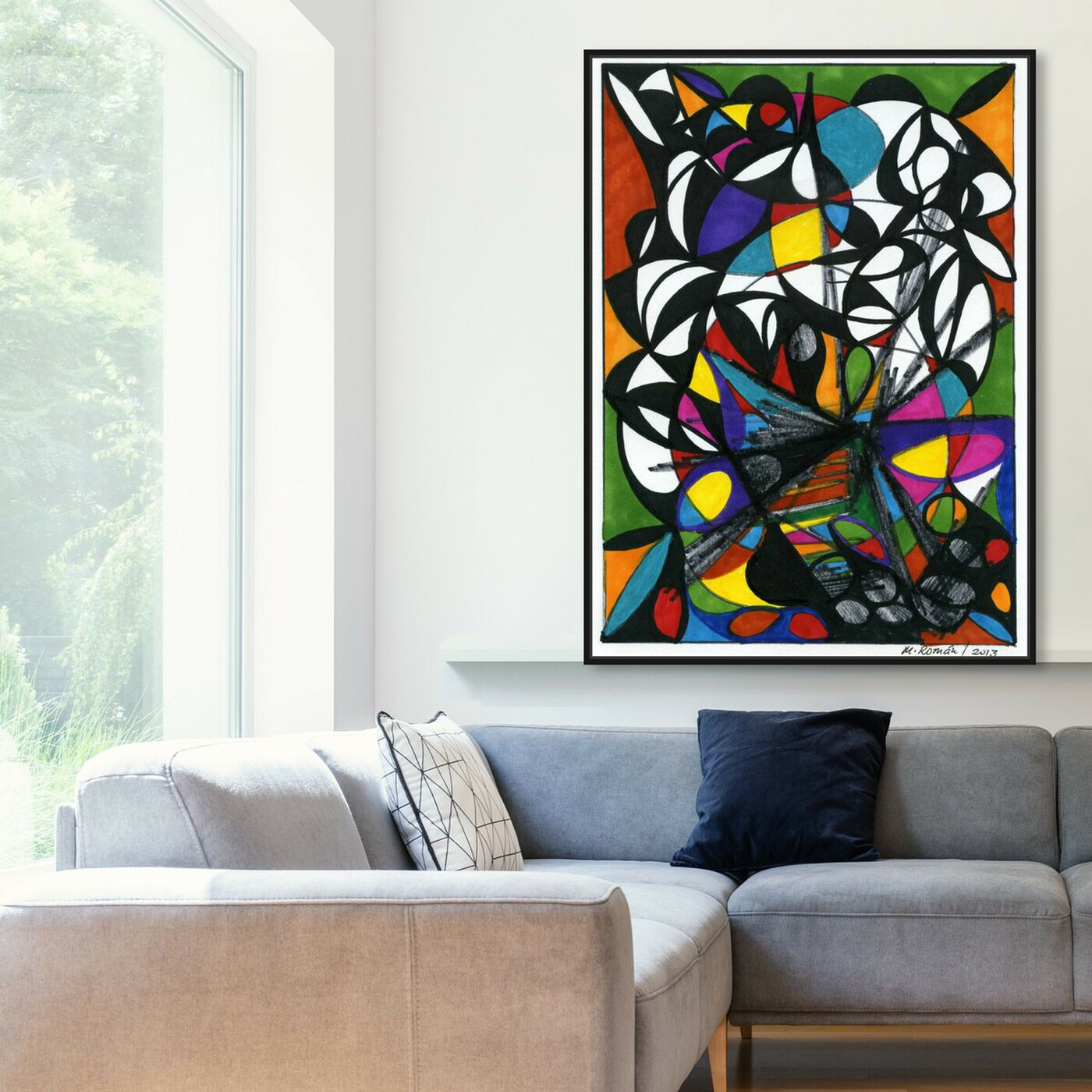 Hanging view of At Dusk featuring abstract and geometric art.