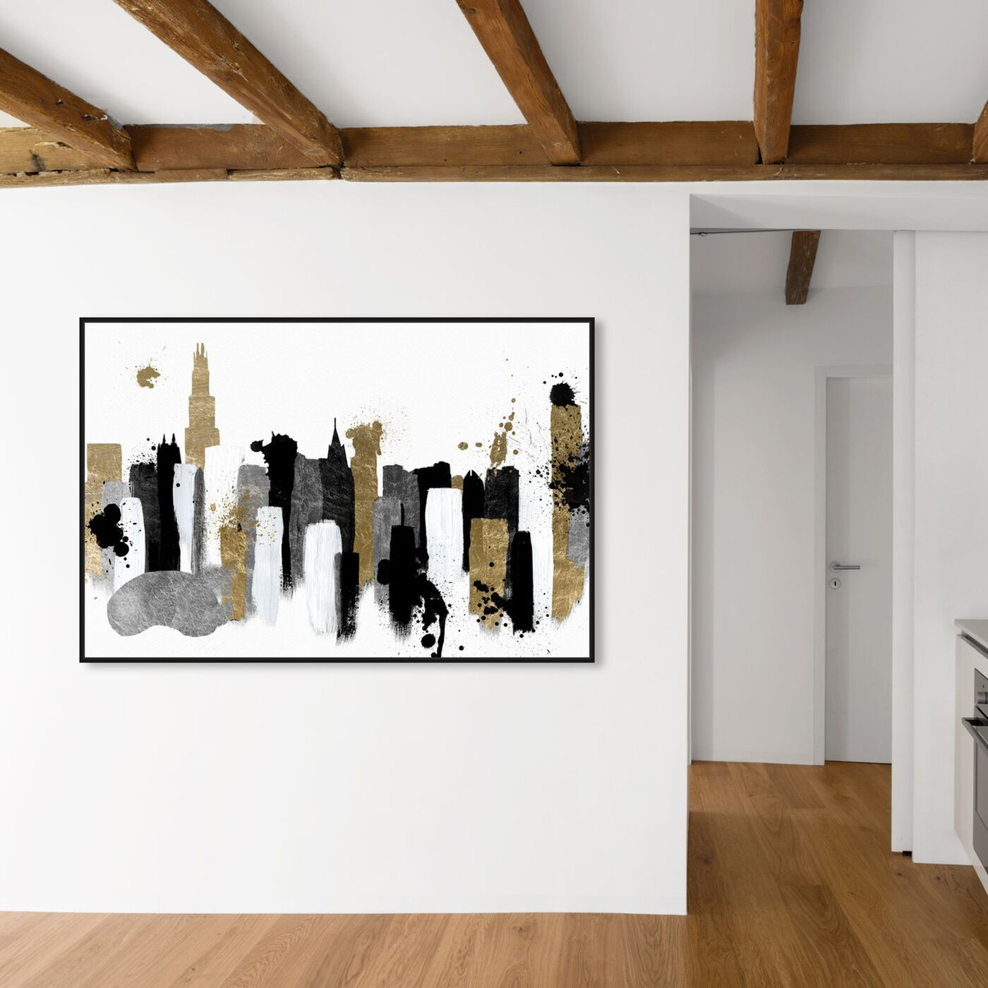 Hanging view of Glamorous Chicago featuring abstract and paint art.