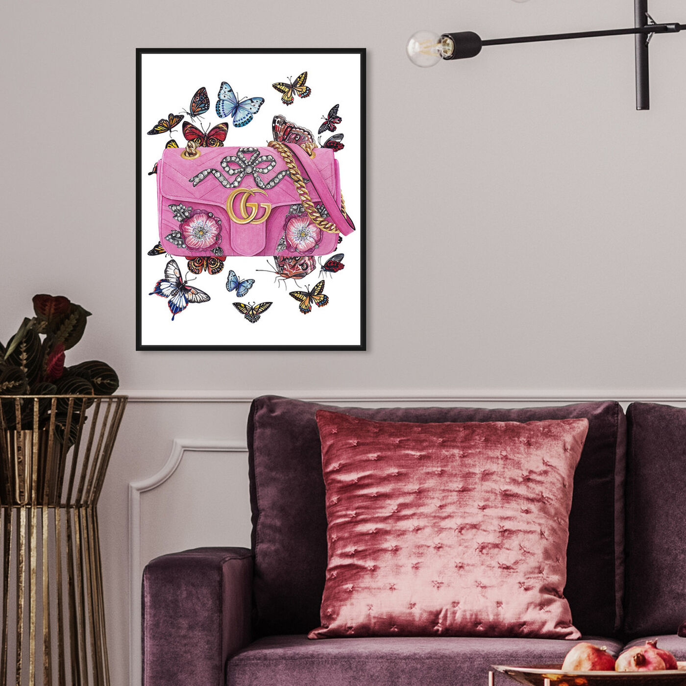 Hanging view of Doll Memories - Butterflies featuring fashion and glam and handbags art.