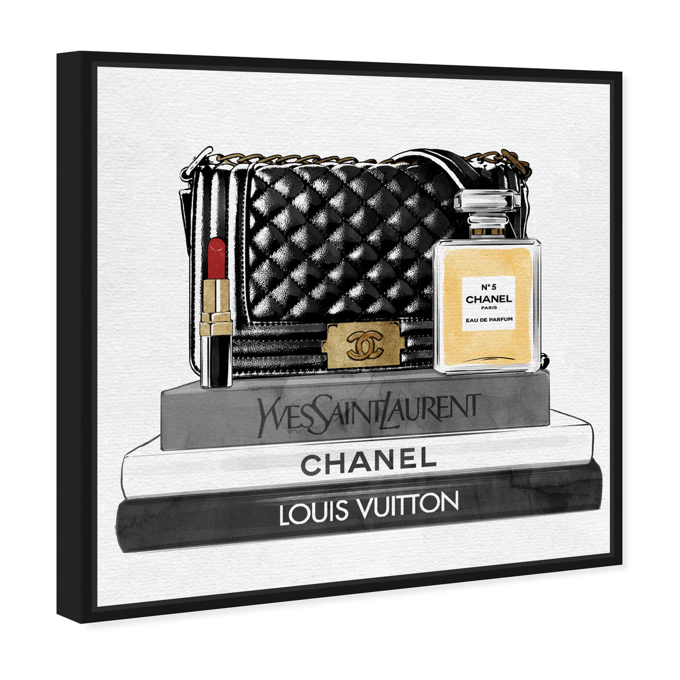 Angled view of Black Paris Handbag and Books featuring fashion and glam and handbags art.
